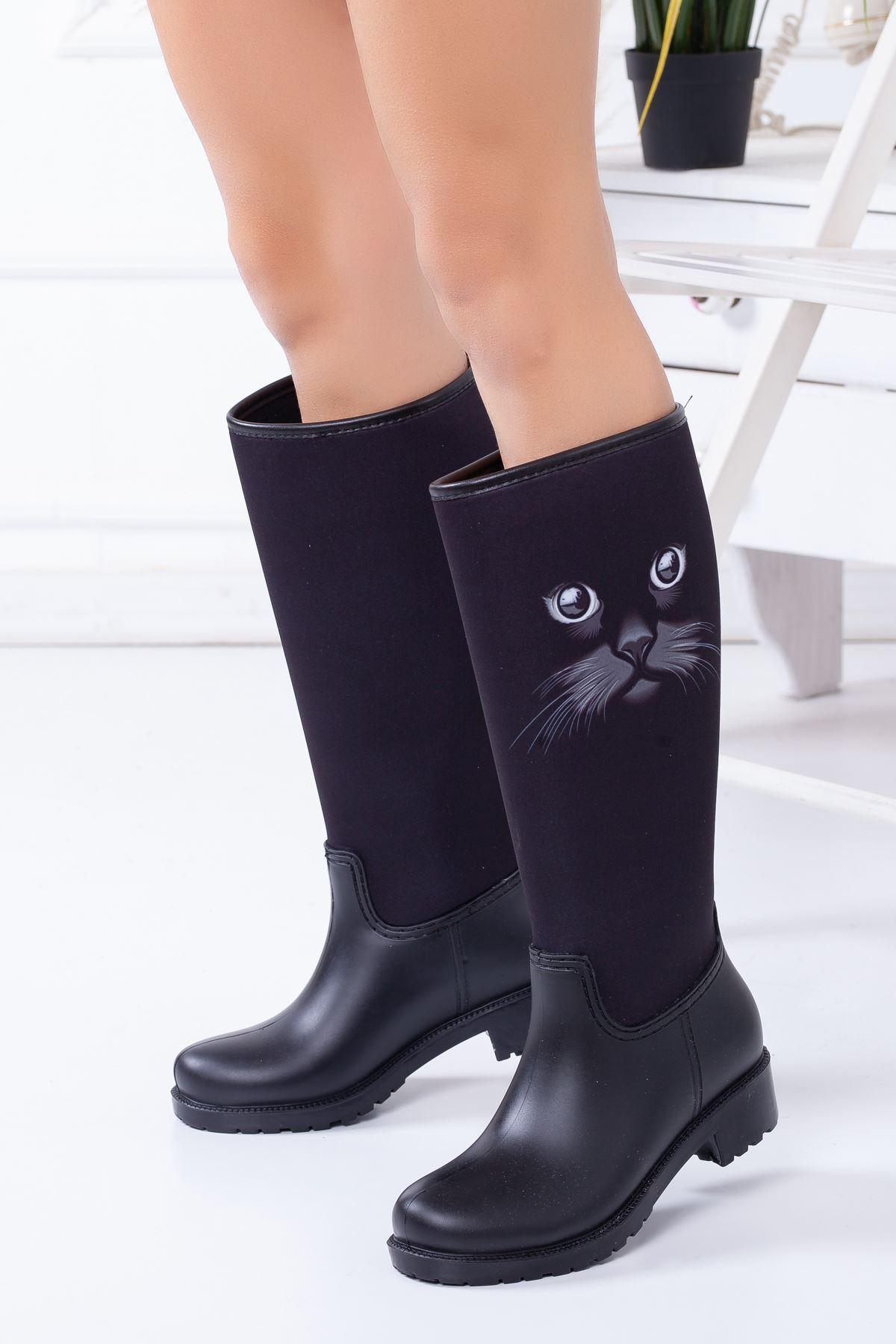 Rain Kedi Desenli Yağmur Çizmesi