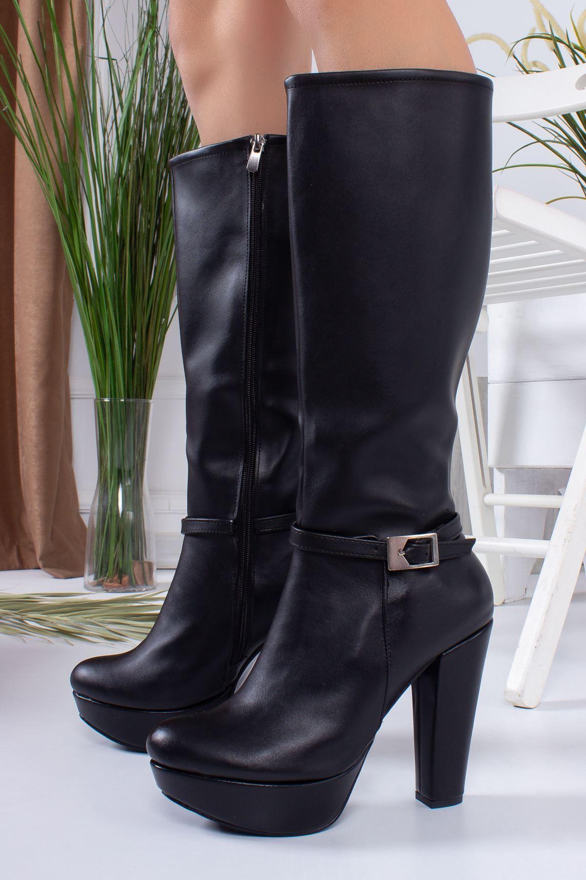 Regina Siyah Cilt Kadın Platform Çizme