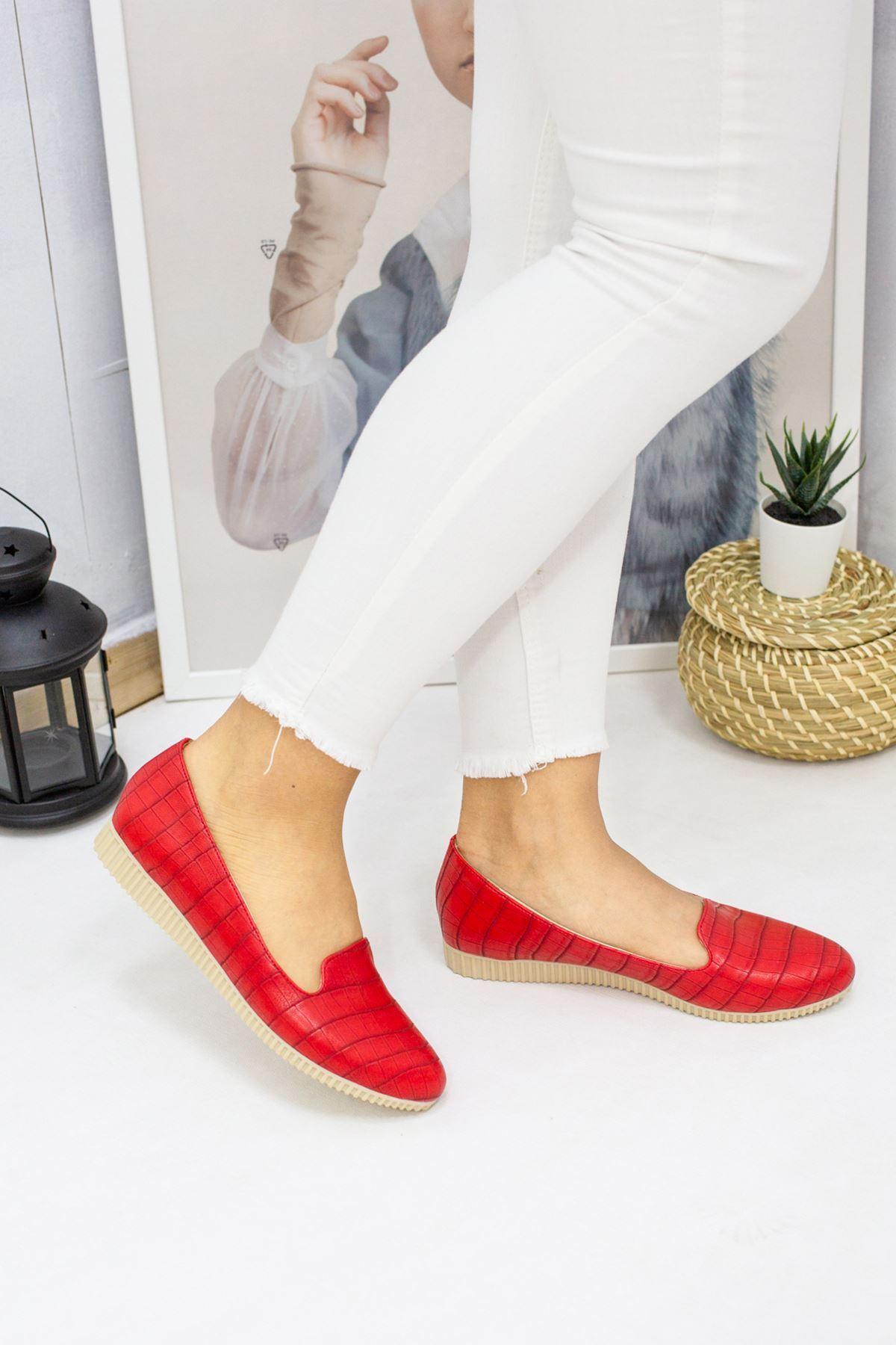 Lace Kırmızı Kroko Kadın Babet