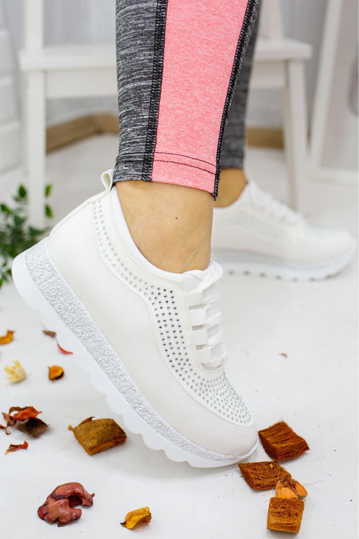 Pavi Beyaz Taşlı Kadın Spor Ayakkabı