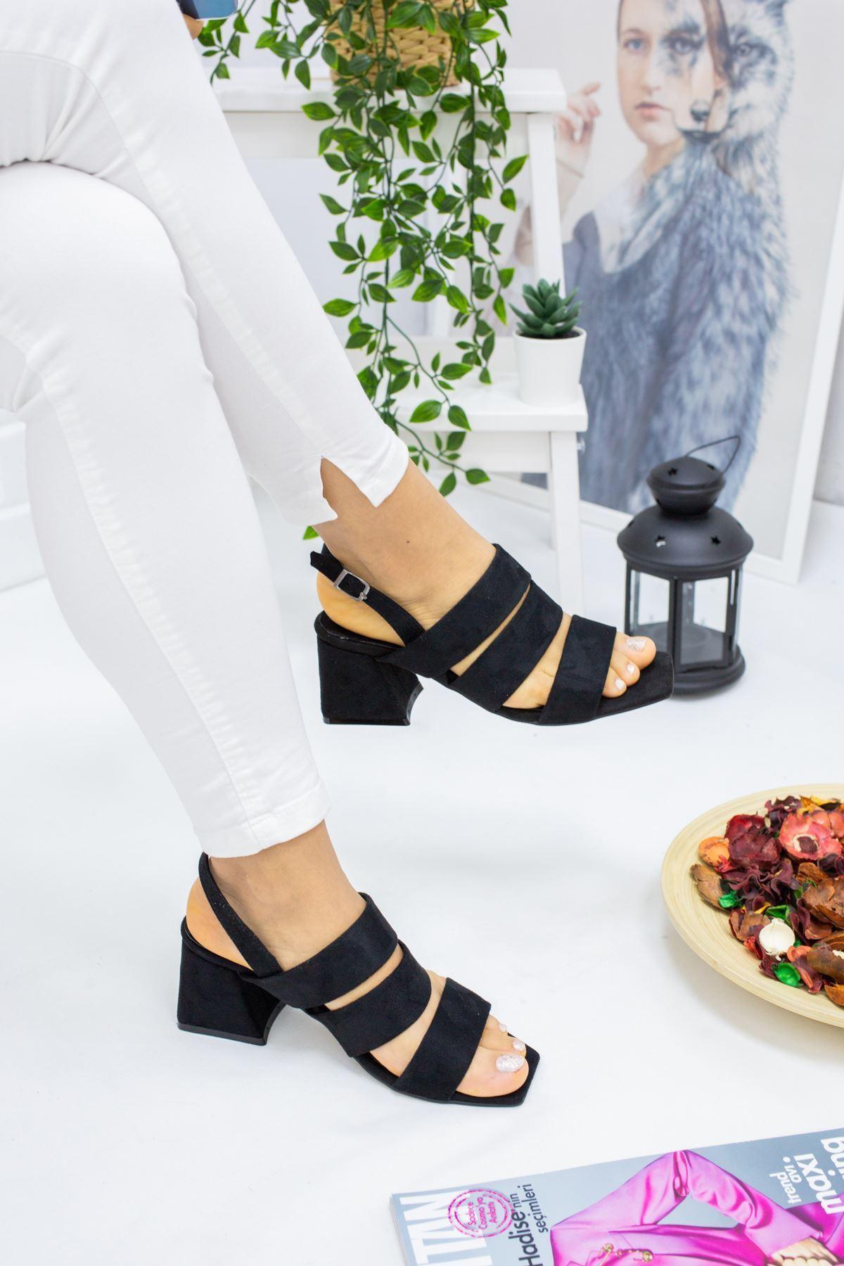 Davide Siyah Süet Kadın Topuklu Ayakkabı