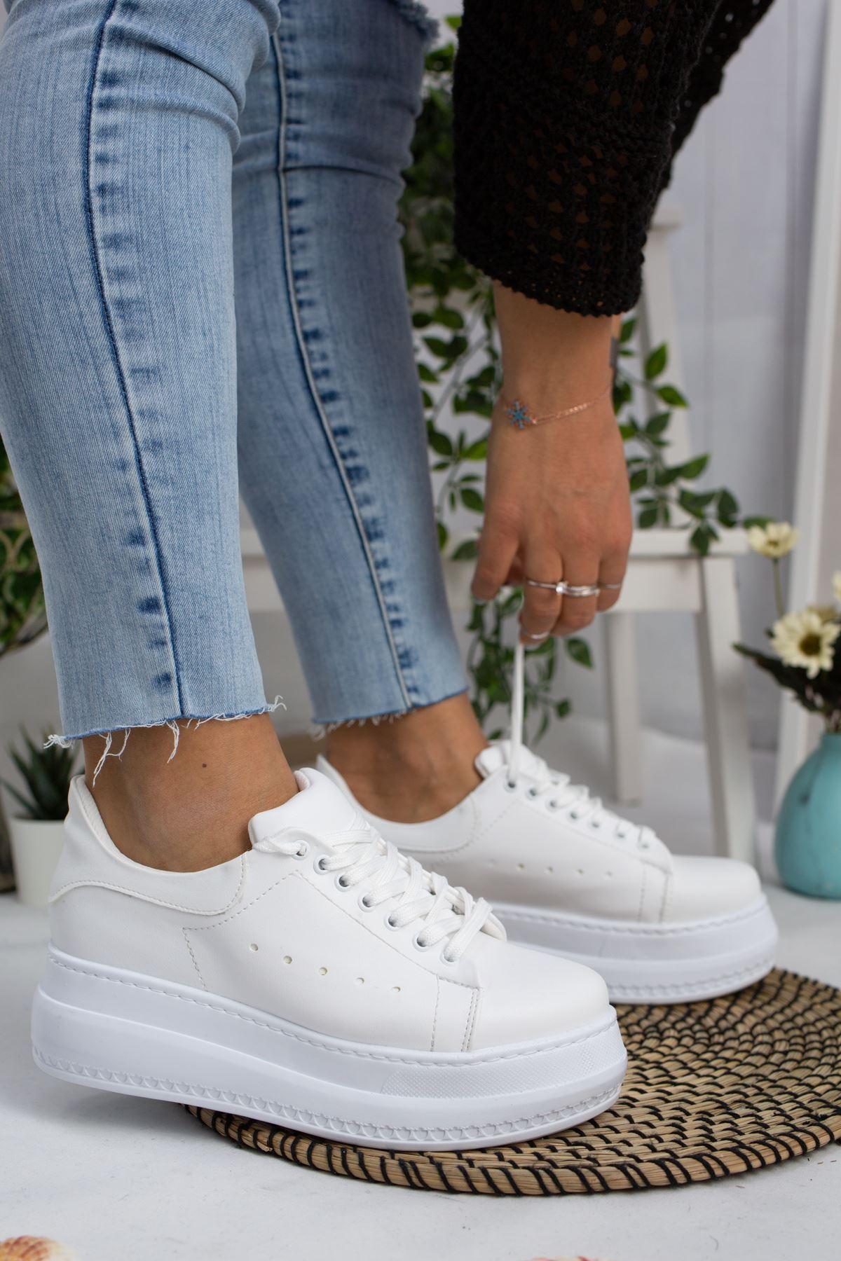 Tito Beyaz Cilt Kadın Spor Ayakkabı