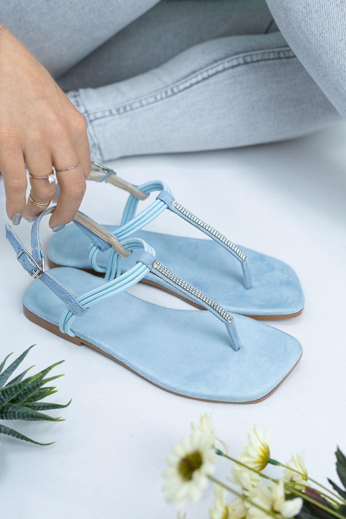 Sea Bebek Mavi Süet Kadın Sandalet