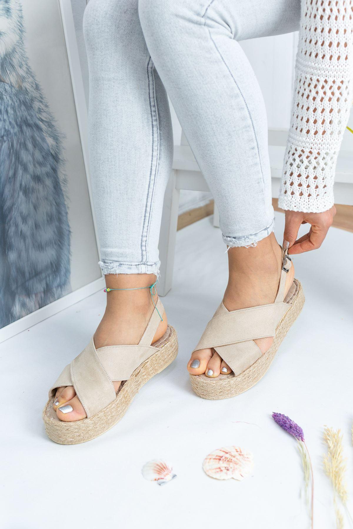 Summer Krem Süet Kadın Sandalet