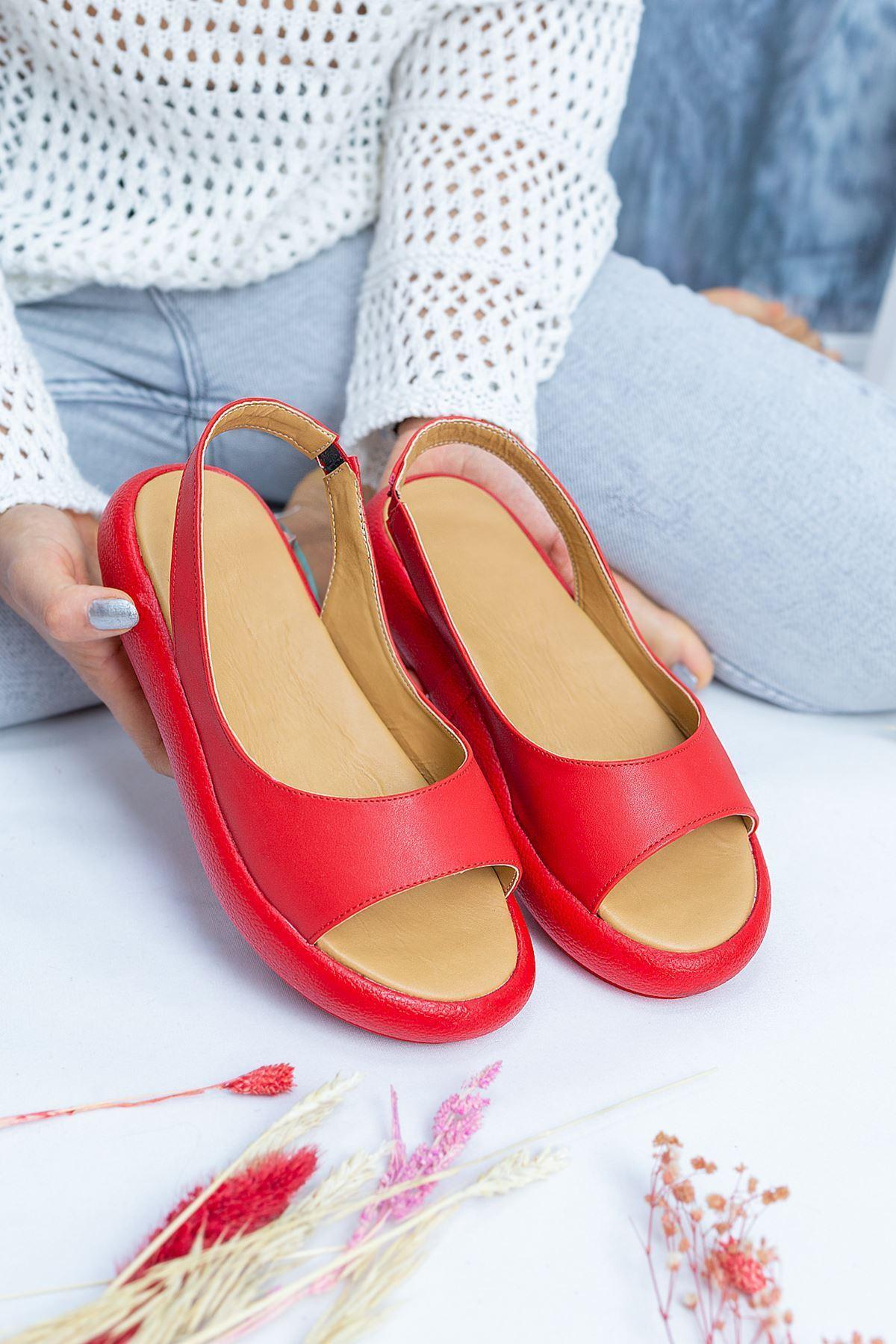 Alex Kırmızı Cilt Kadın Sandalet