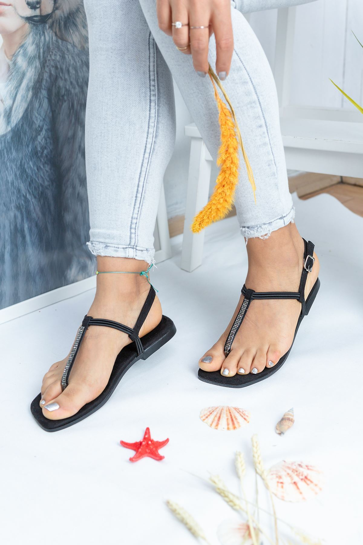 Sea Siyah Süet Kadın Sandalet