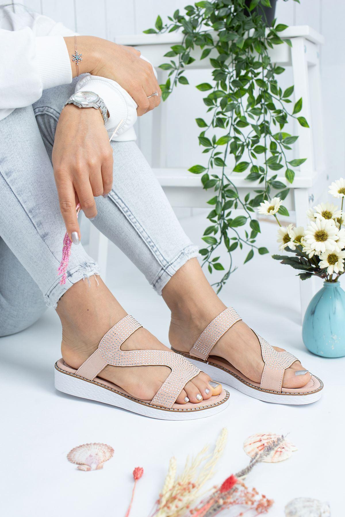 Cali Pudra Süet Kadın Sandalet
