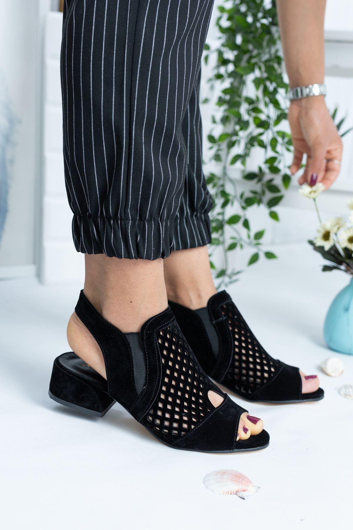 Lipa Siyah Süet Kadın Topuklu Ayakkabı