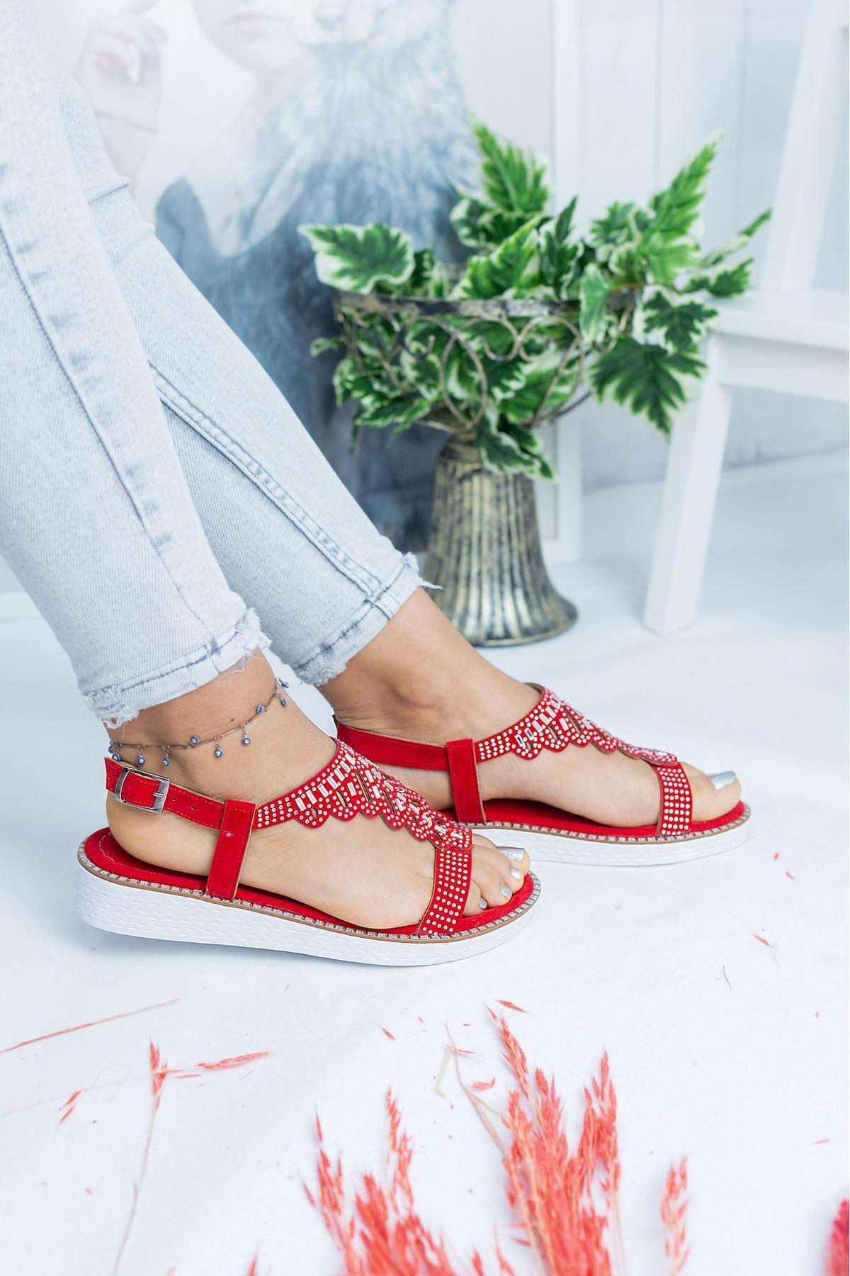 Capo Kırmızı Süet Kadın Sandalet