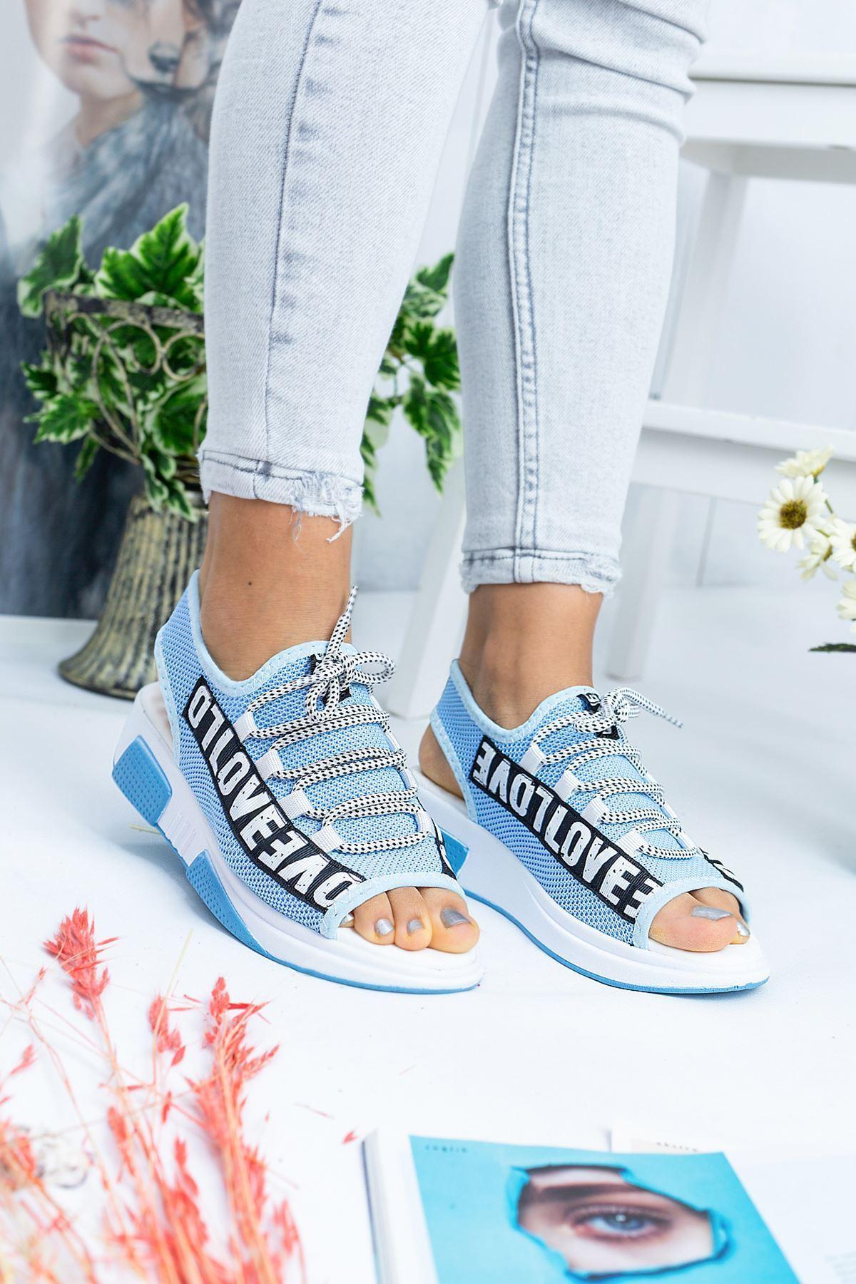 Love Bebek Mavi Triko Kadın Sandalet