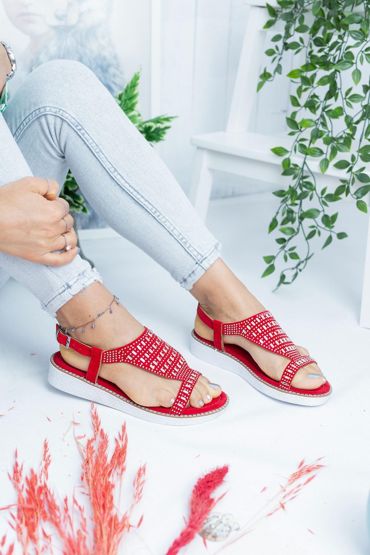 Capri Kırmızı Süet Kadın Sandalet