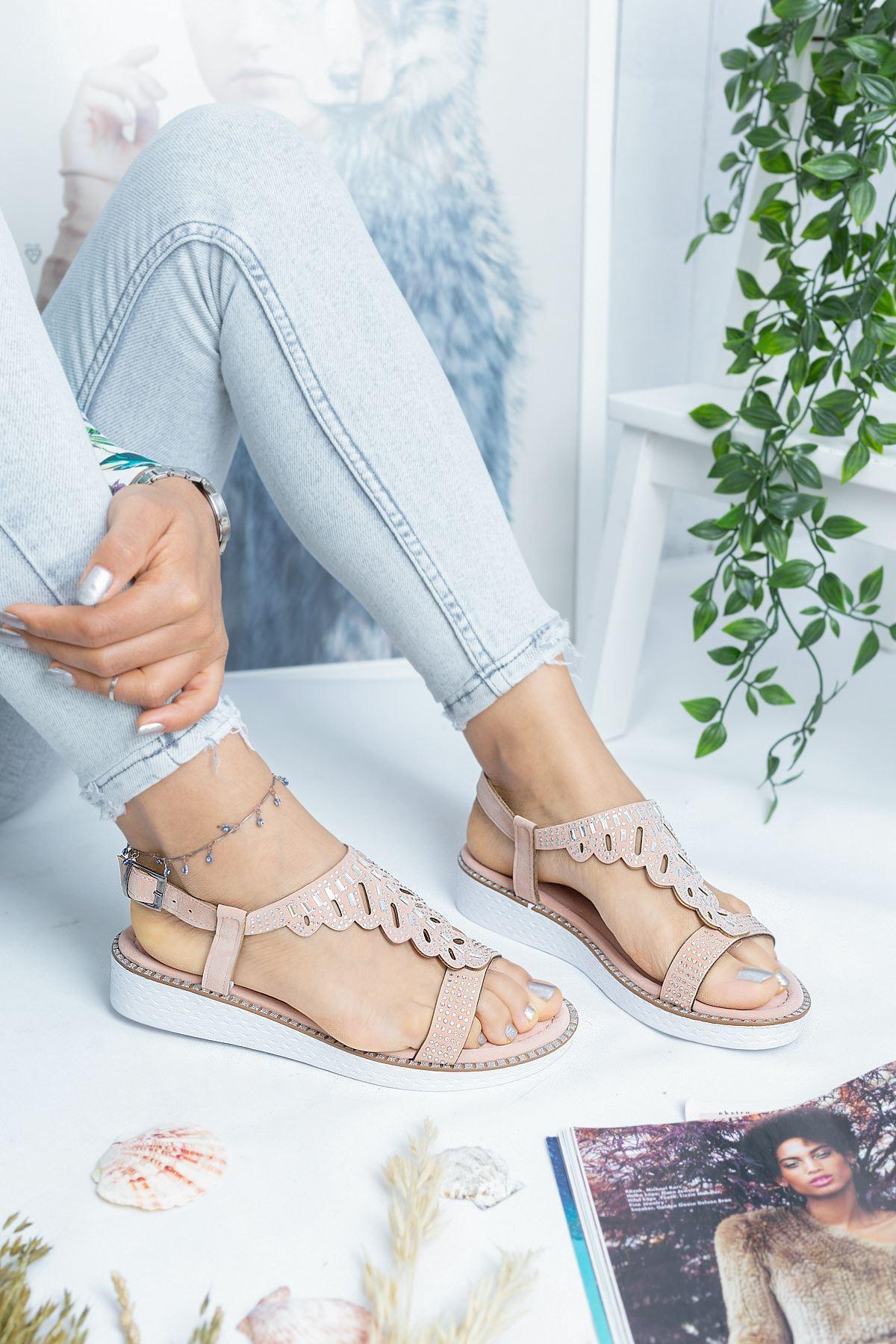 Capo Pudra Süet Kadın Sandalet