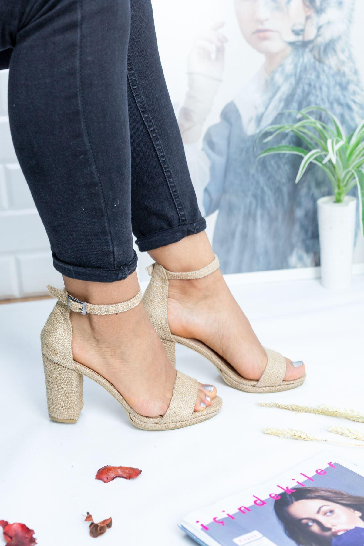 Lenka Hasır Kadın Topuklu Ayakkabı