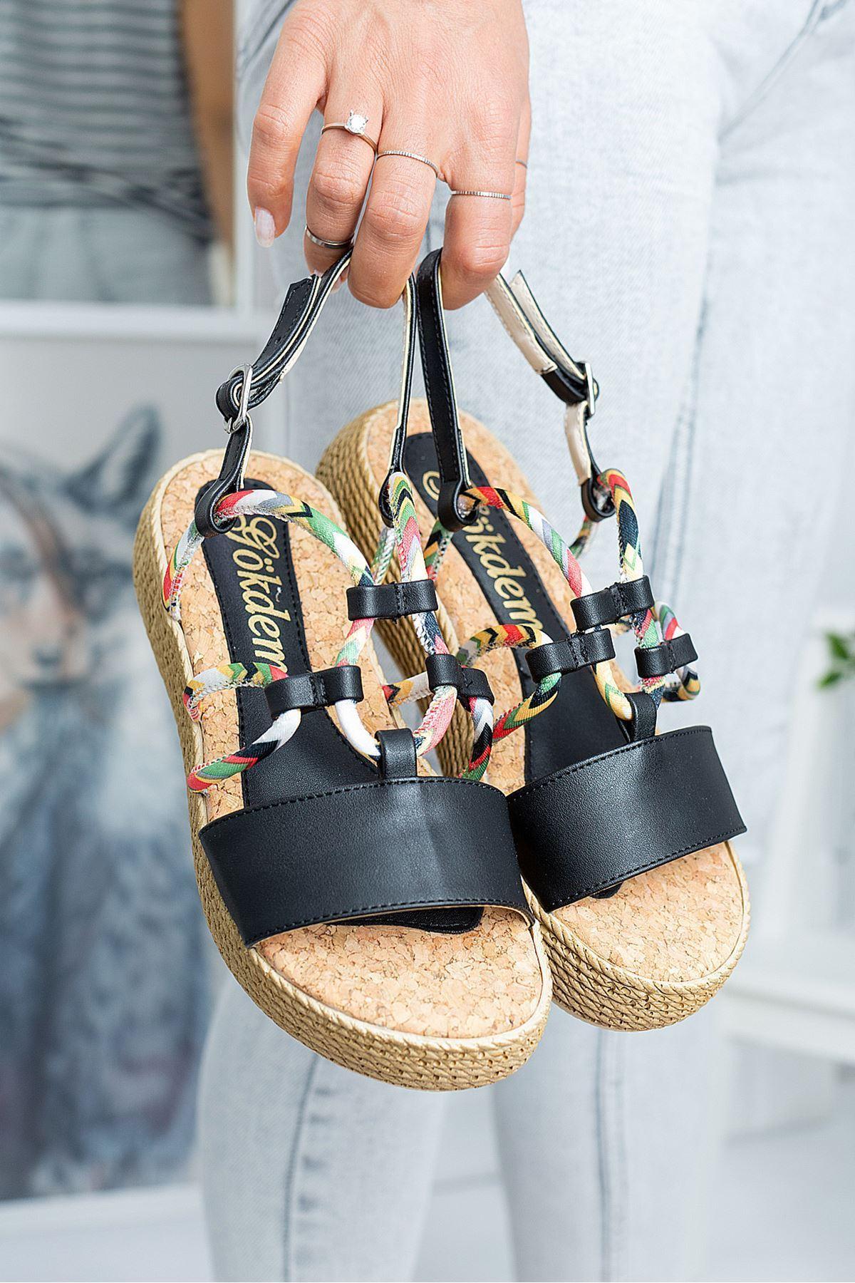 Terri Siyah Cilt Kadın Sandalet