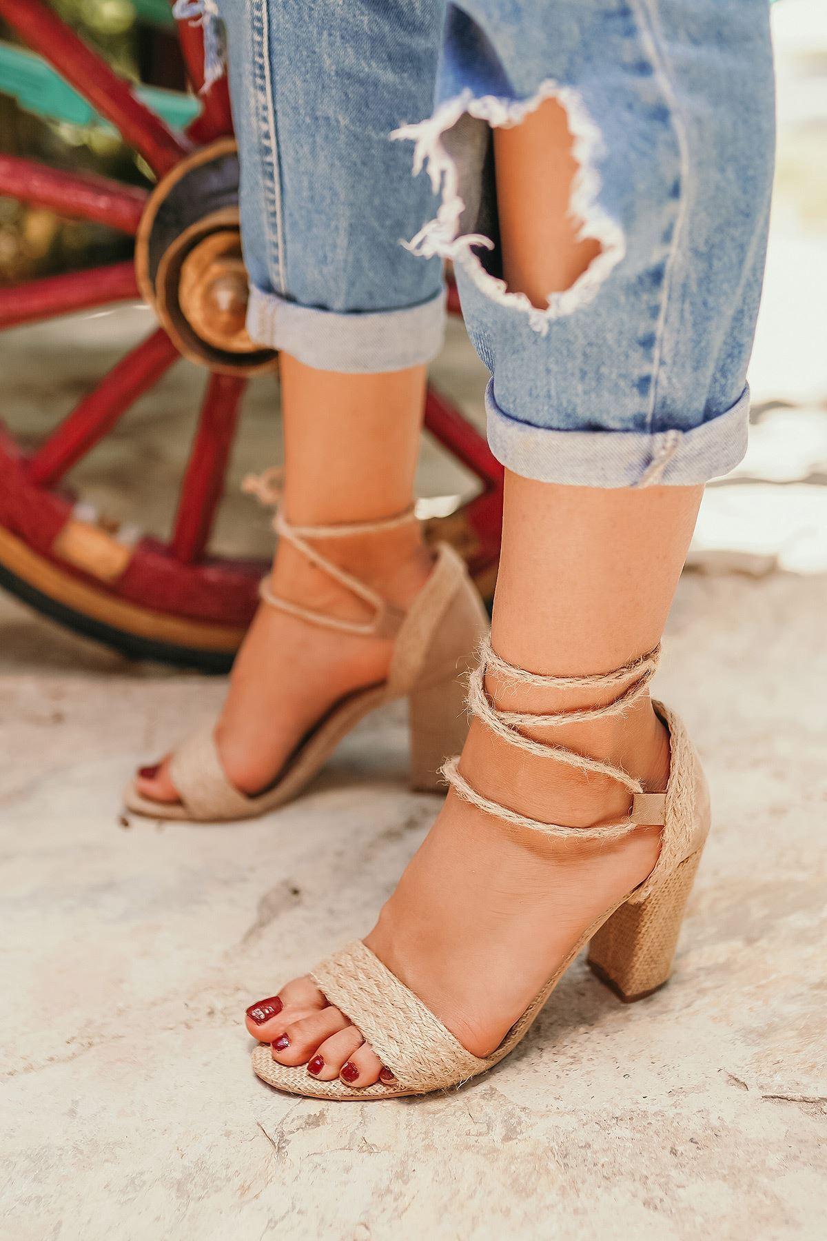 Emily Hasır Topuklu Kadın Ayakkabı