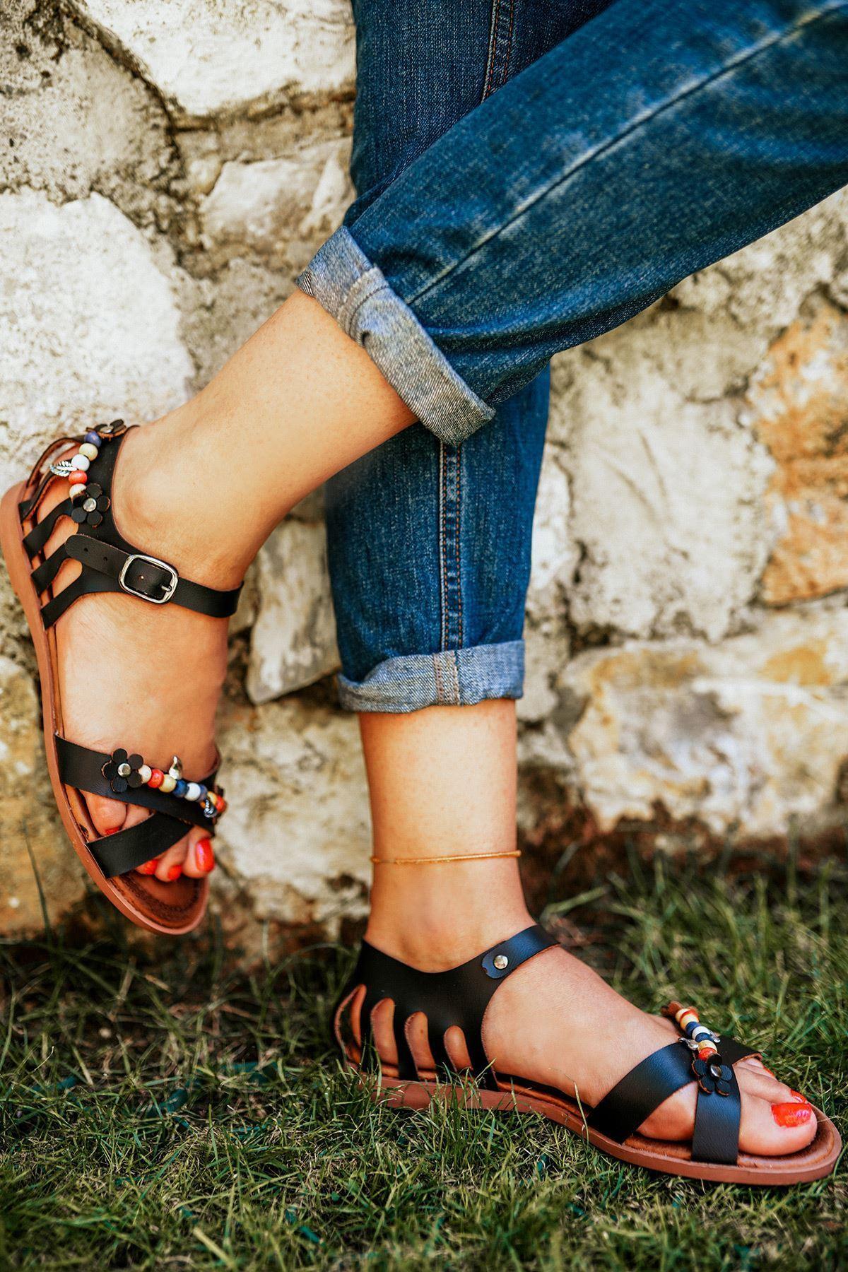 Fabio Siyah Deri Sandalet
