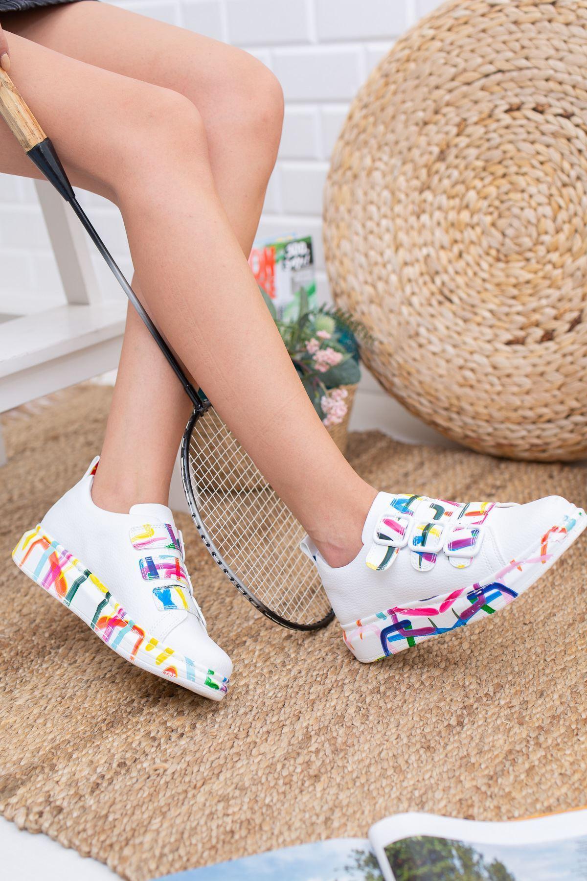 Gayle Beyaz Renkli Kadın Sneakers