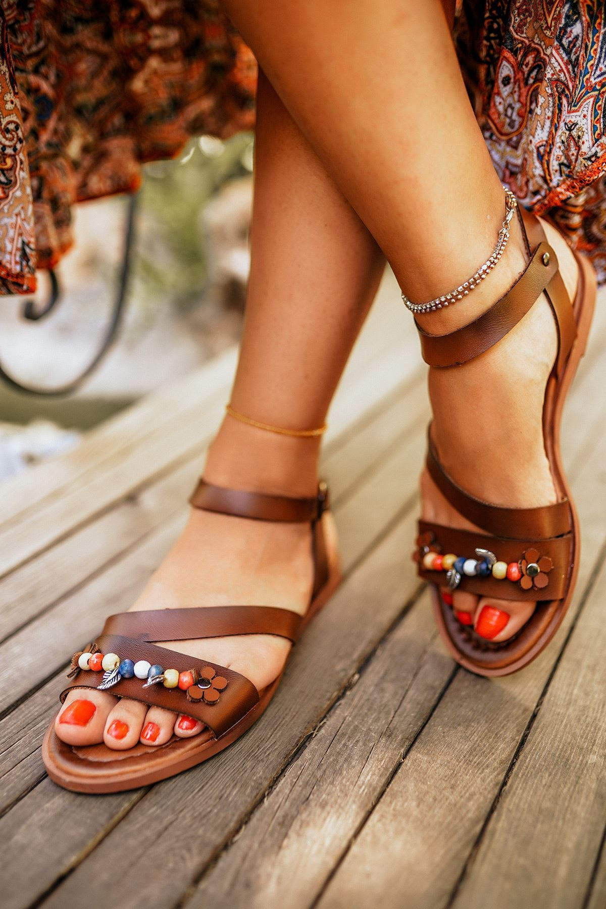 Romany Taba Deri Sandalet