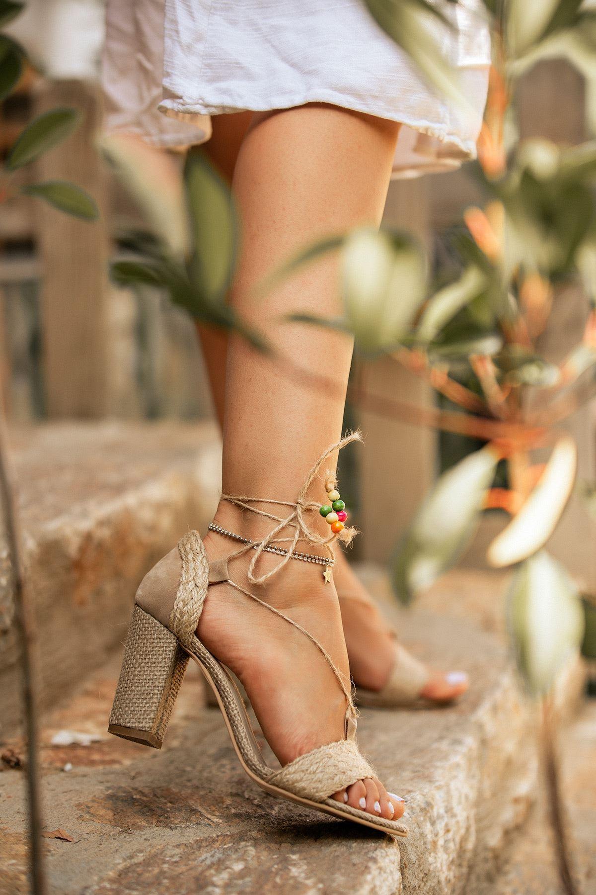 Orion Hasır Kadın  Topuklu  Ayakkabı