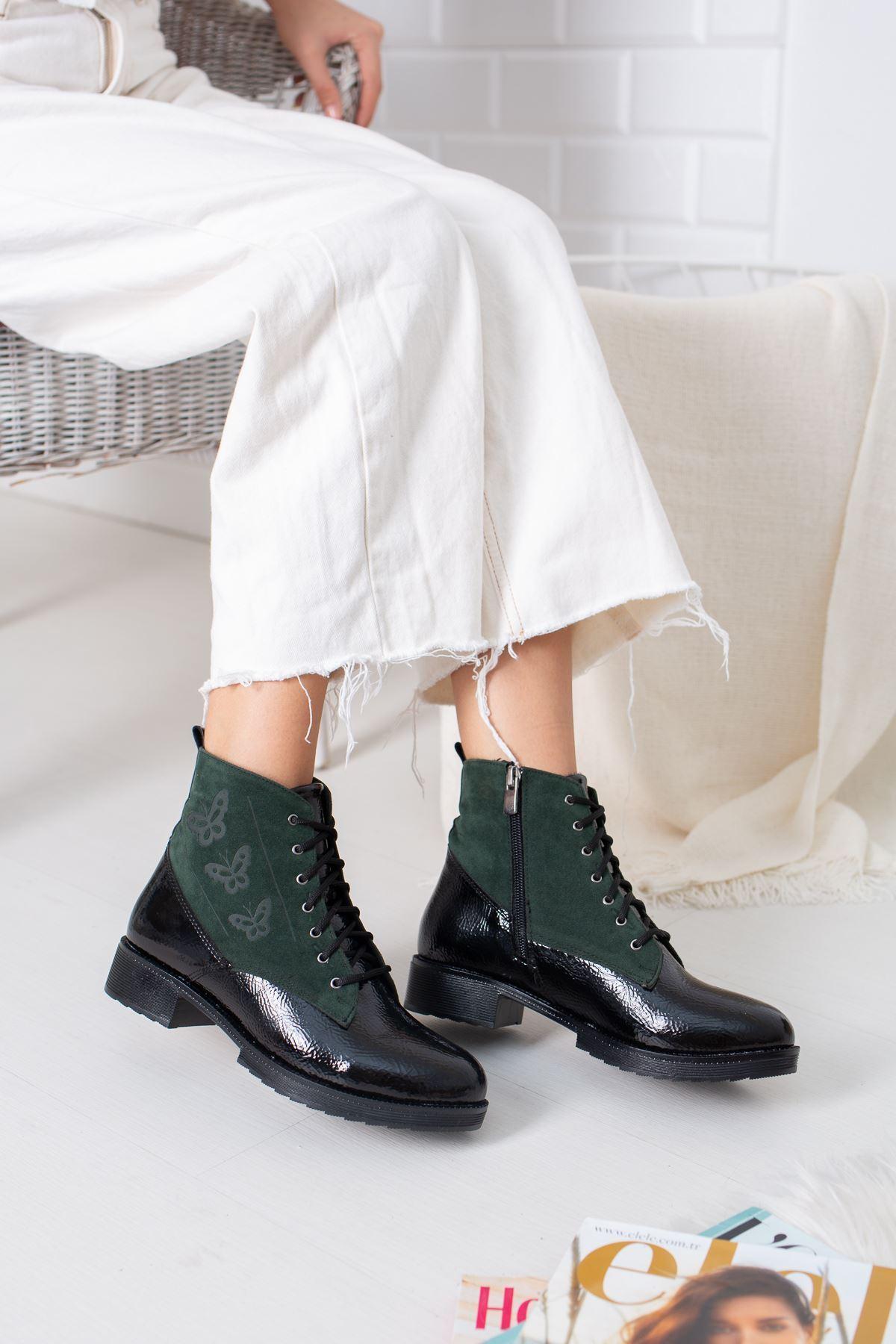 Nina Siyah Rugan Yeşil Süet Kadın Bot