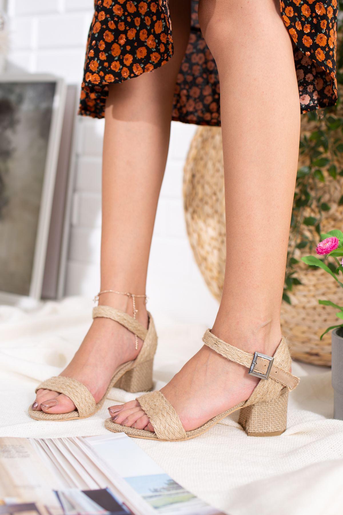 Locke Hasır Kadın Topuklu Ayakkabı