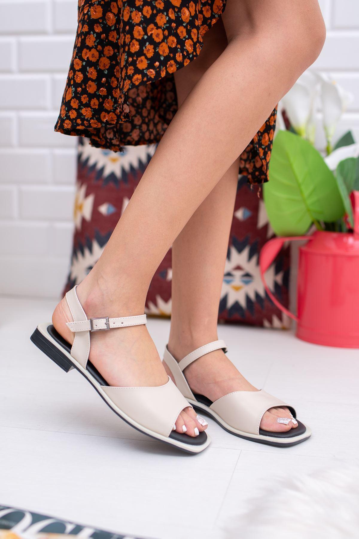 Yorgi Krem Kadın Sandalet