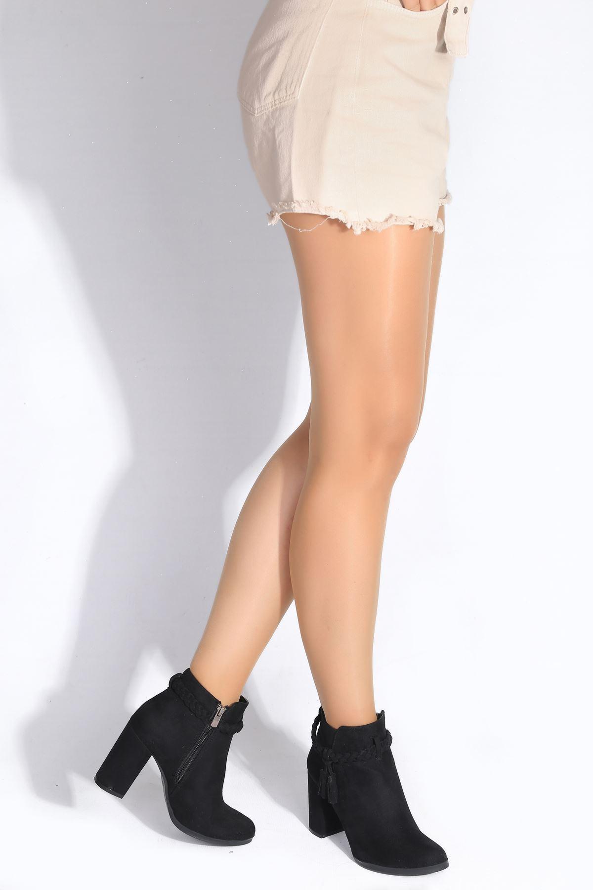 Dasia Siyah Süet Topuklu Kadın Bot