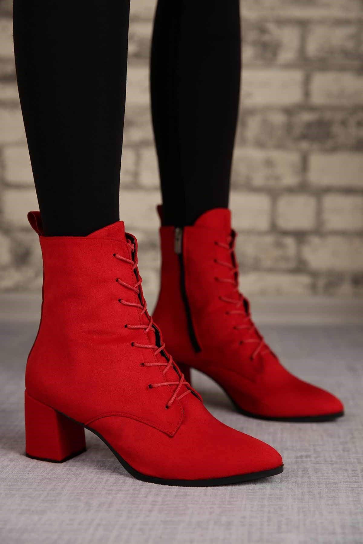 Oliver Kırmızı Süet Topuklu Kadın Bot