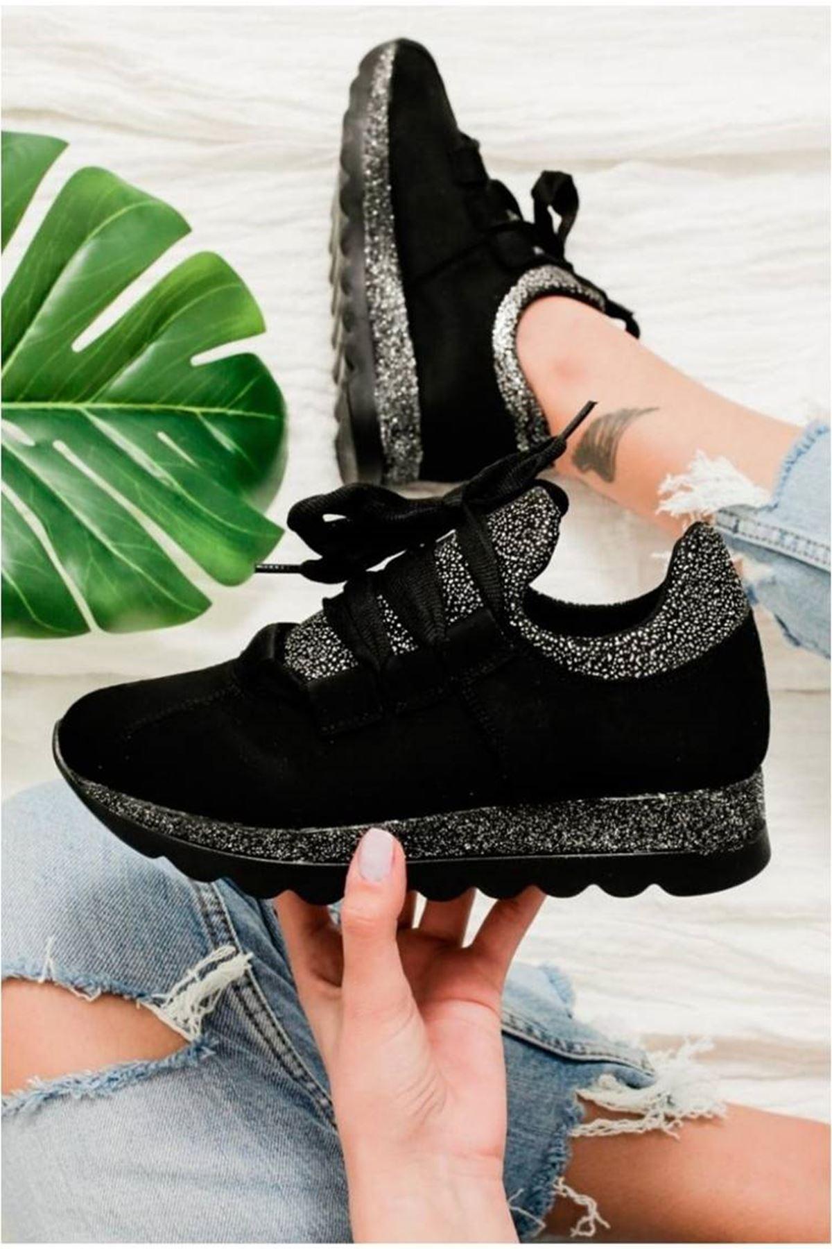 Hudson Siyah Süet Kadın Spor Ayakkabı