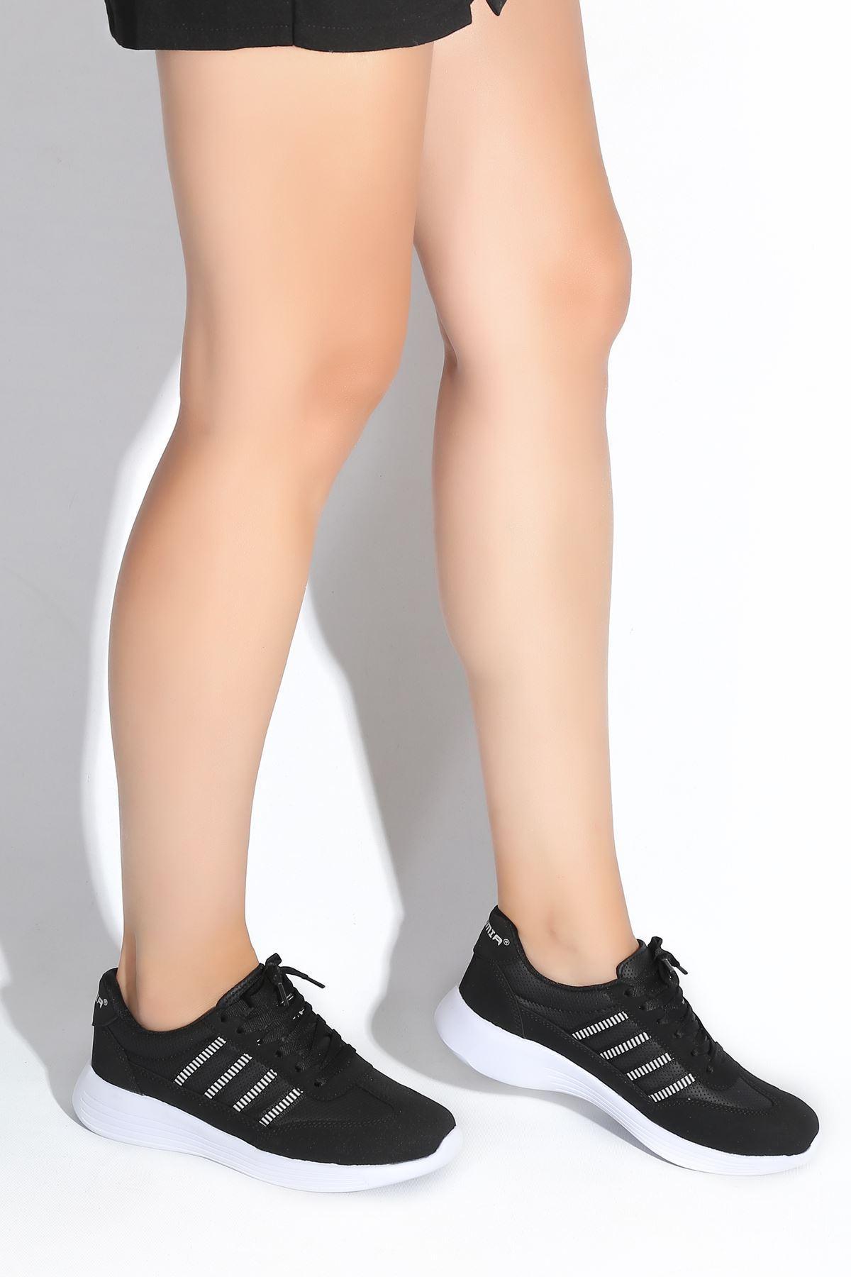 Giana Siyah Beyaz Taban Kadın Spor Ayakkabı
