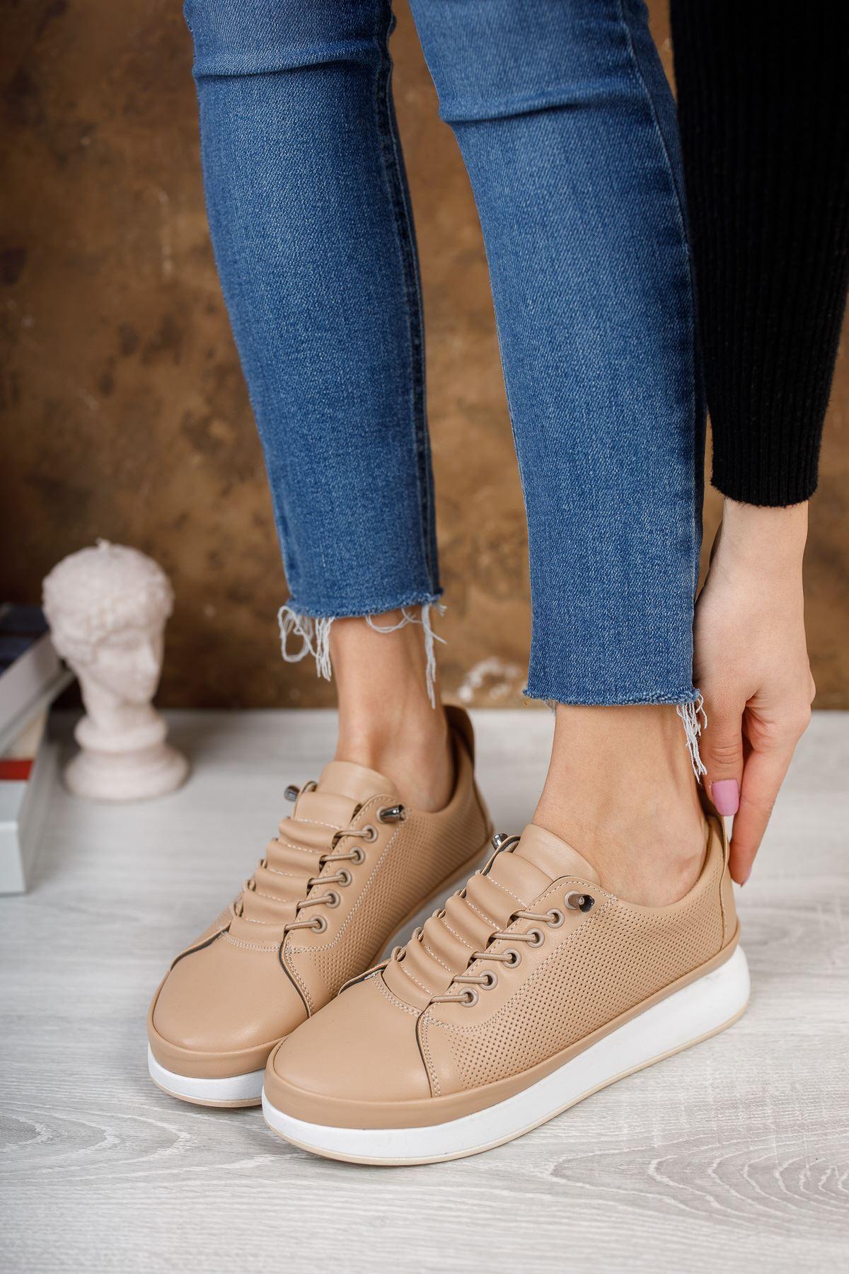 Karenna Vizon Mat Deri Bağcıklı Kadın Günlük Ayakkabı