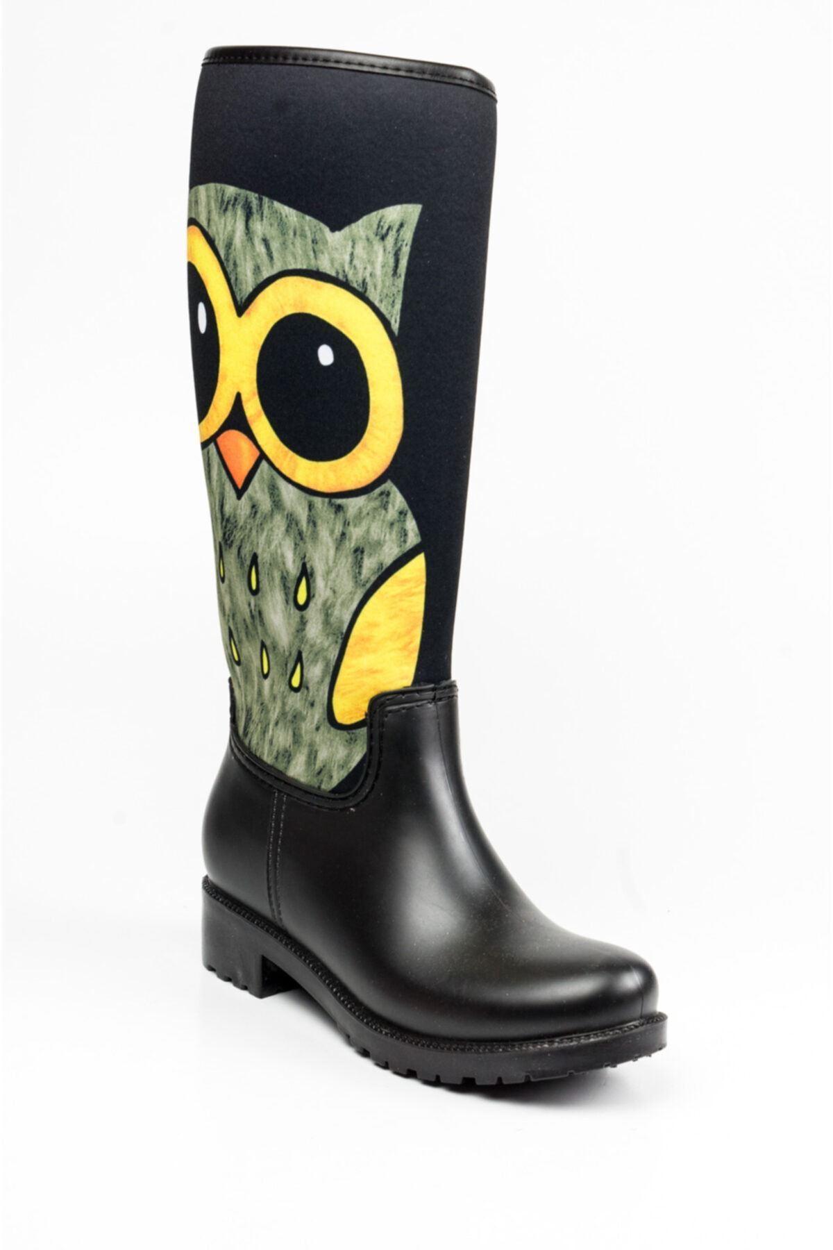 Rain Baykuş Desenli Kadın Yağmur Çizmesi