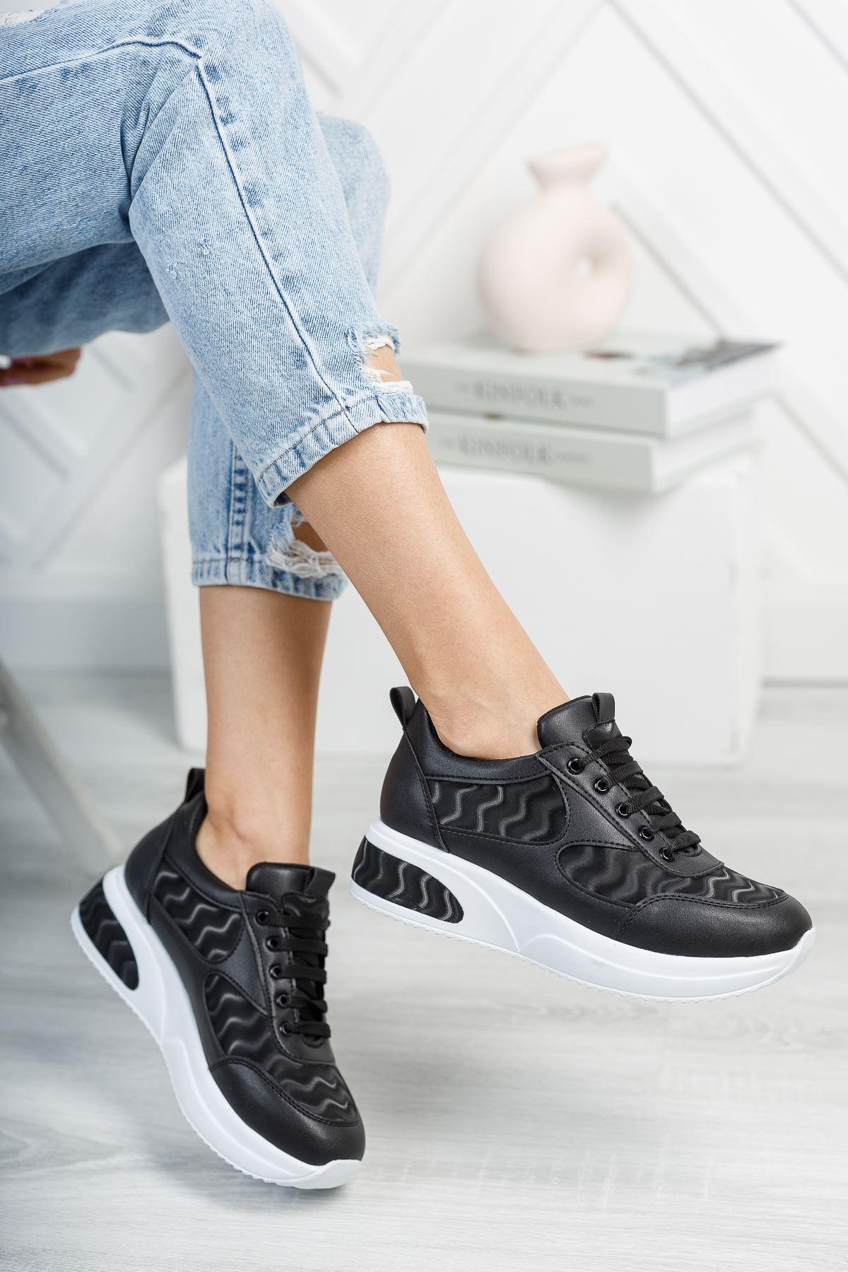 Noga 3D Efektli Siyah Mat Deri Bağcıklı Kadın Spor Ayakkabı
