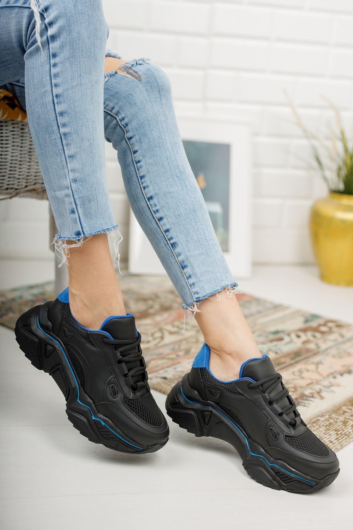 Loza Siyah Mat Mavi Bağcıklı Kadın Spor Ayakkabı