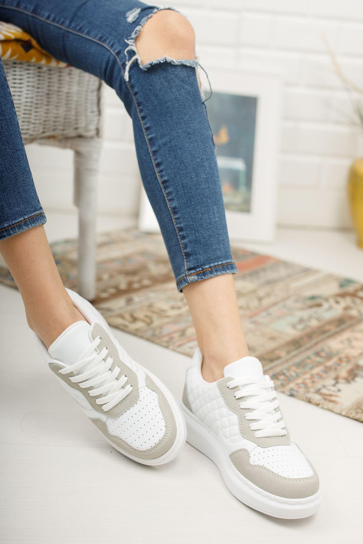 Danila Beyaz Kapitone Gri Süet Bağcıklı Kadın Spor Ayakkabı