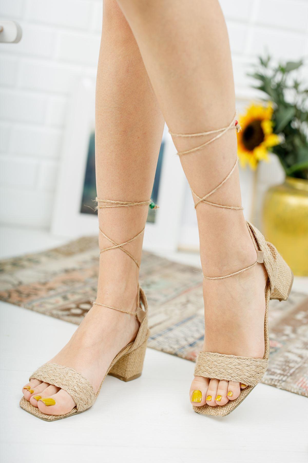 Edrie Hasır Topuklu Ayakkabı