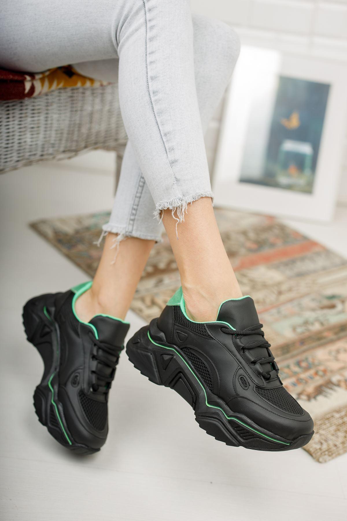 Loza Siyah Mat Yeşil Bağcıklı Kadın Spor Ayakkabı
