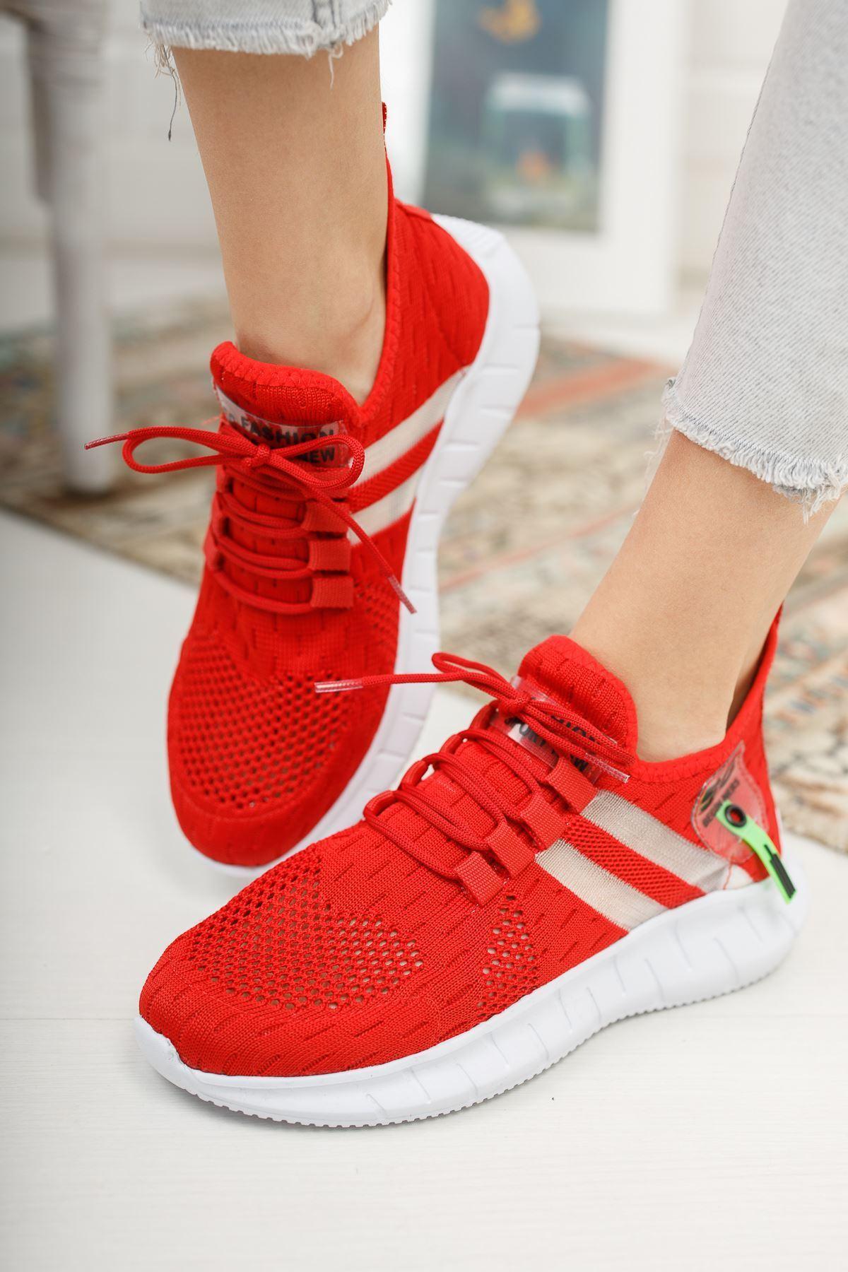 Mirella Kırmızı Triko Bağcıklı Kadın Spor Ayakkabı