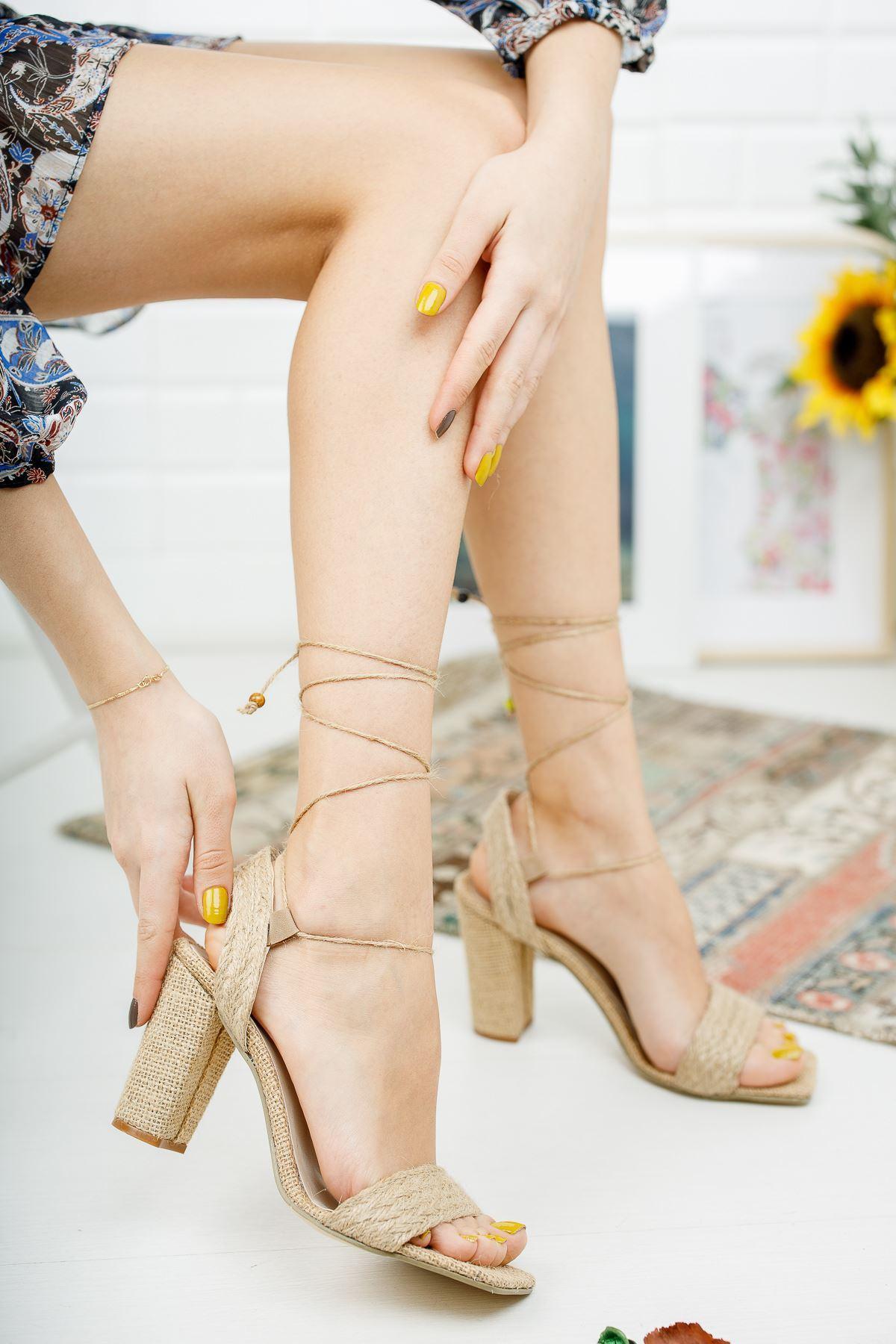 Agnes Hasır Topuklu Ayakkabı