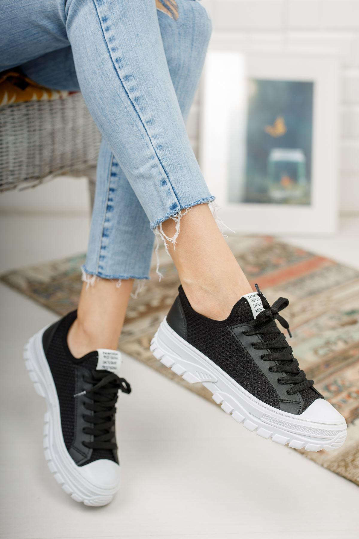 Reneta Siyah Triko Siyah Mat Bağcıklı Kadın Spor Ayakkabı
