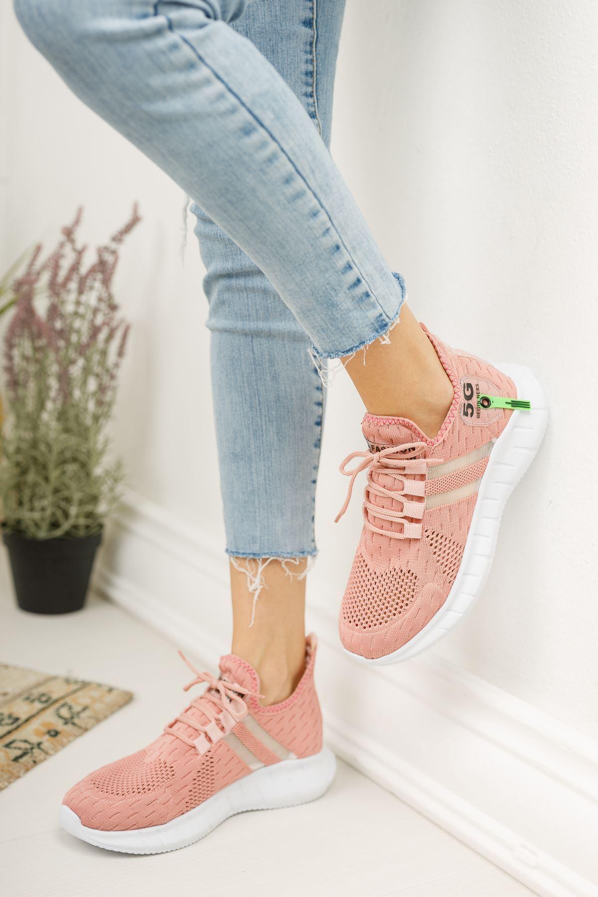 Mirella Pudra Triko Bağcıklı Kadın Spor Ayakkabı
