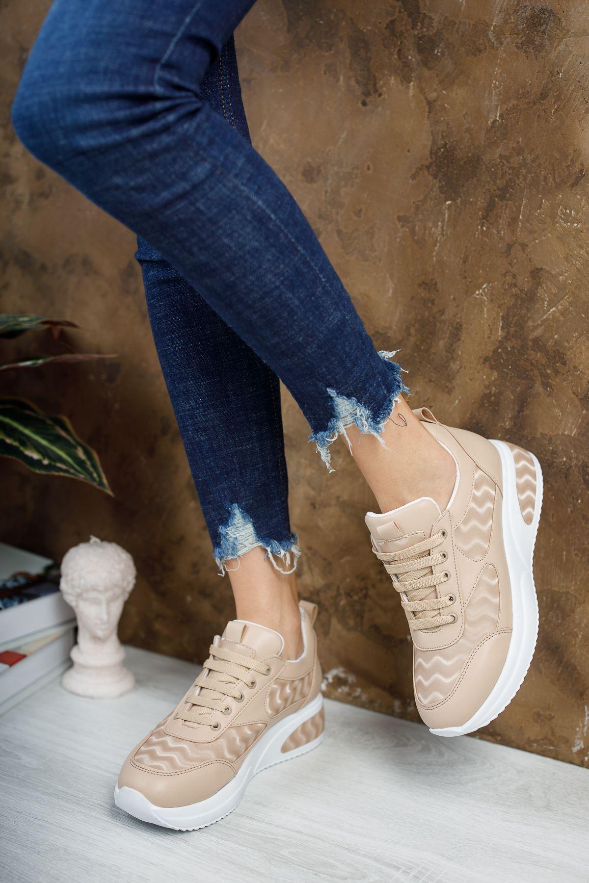 Noga 3D Efektli Vizon Mat Deri Bağcıklı Kadın Spor Ayakkabı