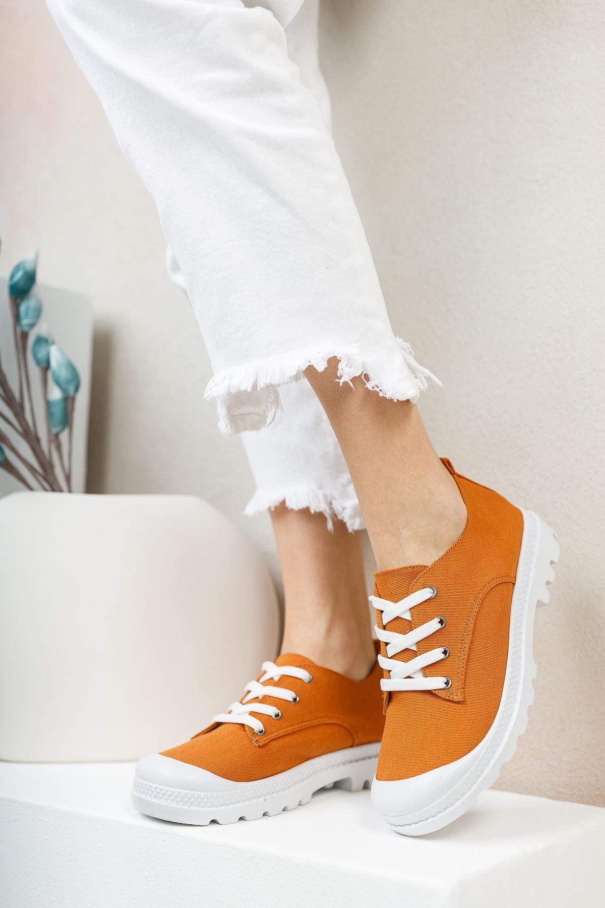 Pirina Taba Keten Bağcıklı Kadın Spor Ayakkabı