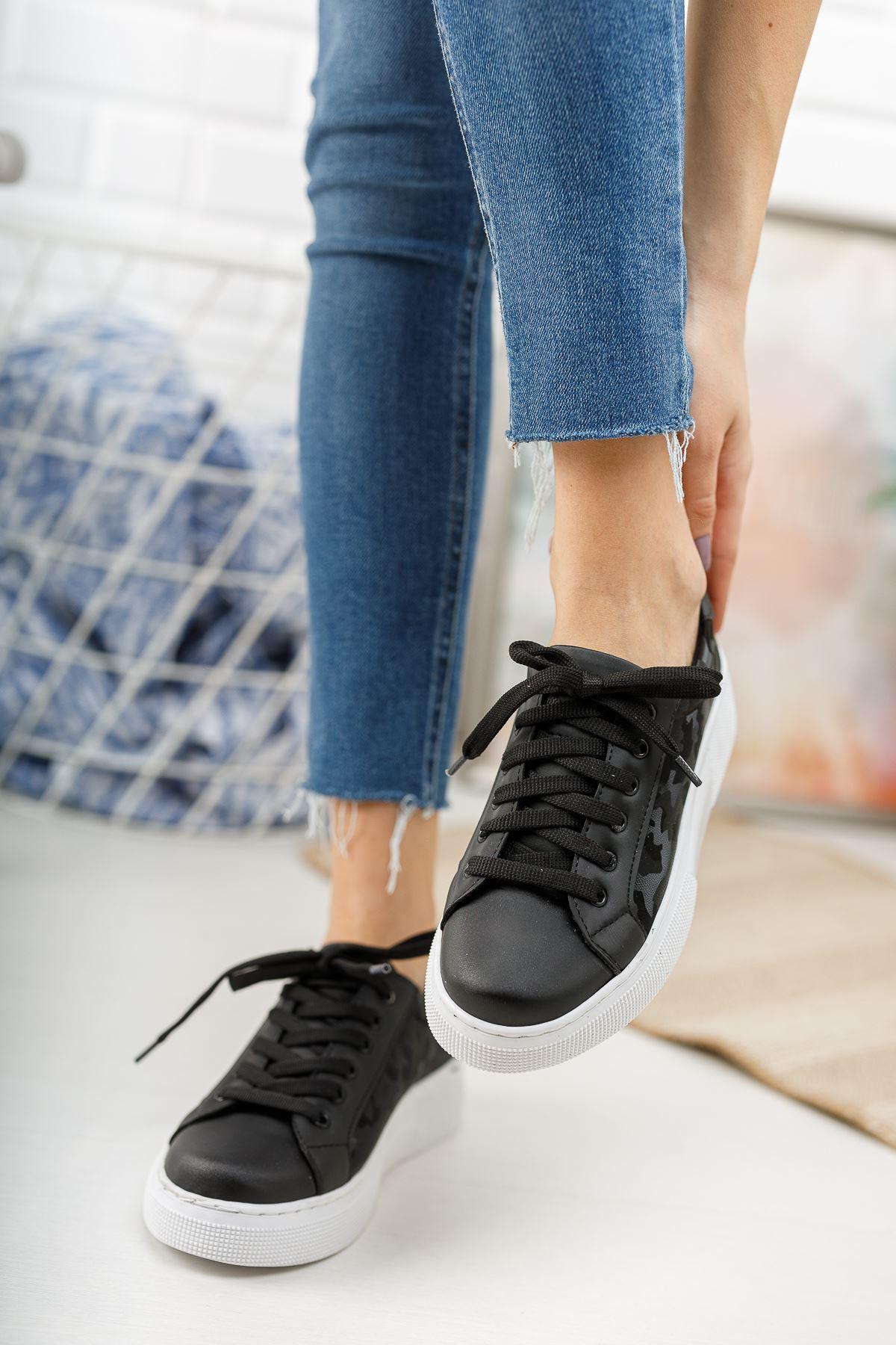 Leone Kamuflaj Desenli Bağcıklı Siyah Spor Ayakkabı