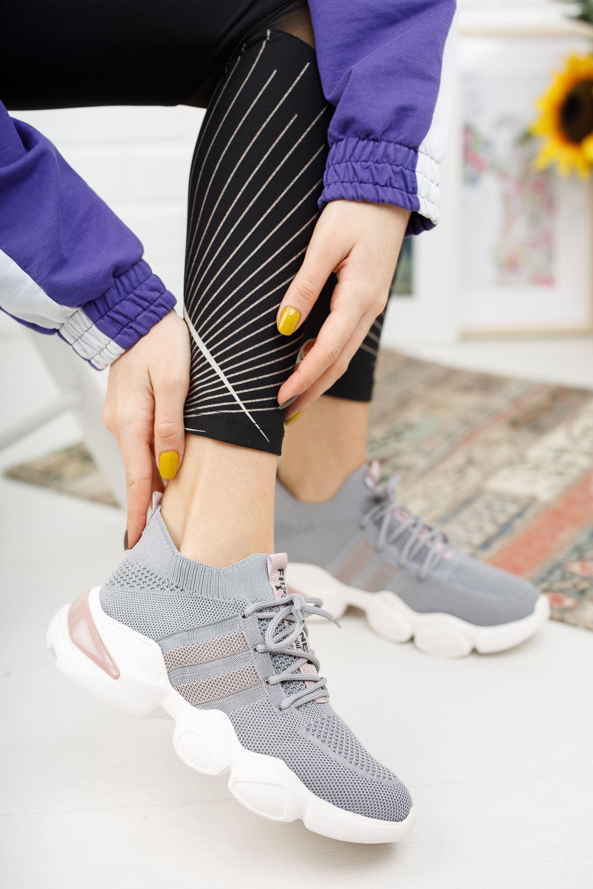 Mercy Füme Triko Bağcıklı Spor Ayakkabı