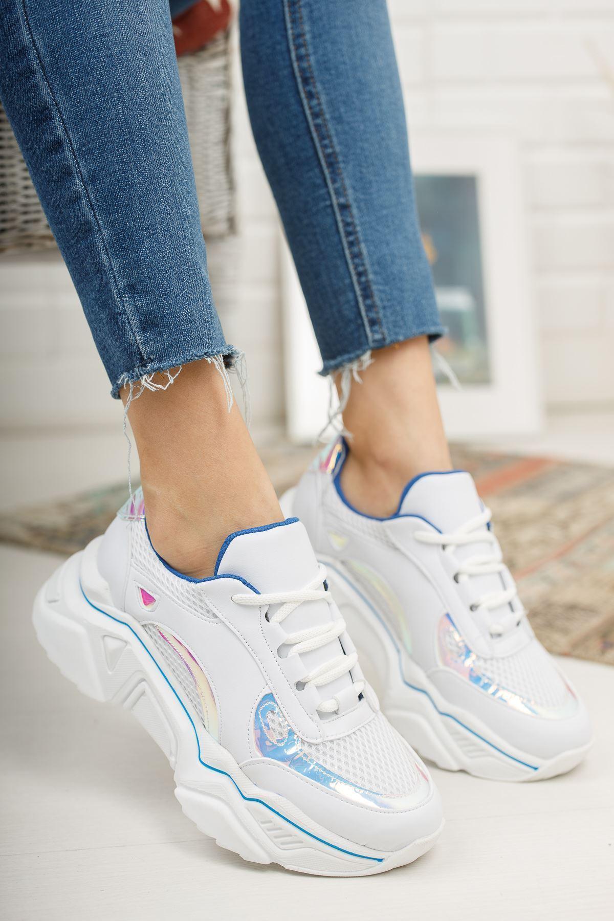 Loza Beyaz Mat Hologram Bağcıklı Kadın Spor Ayakkabı