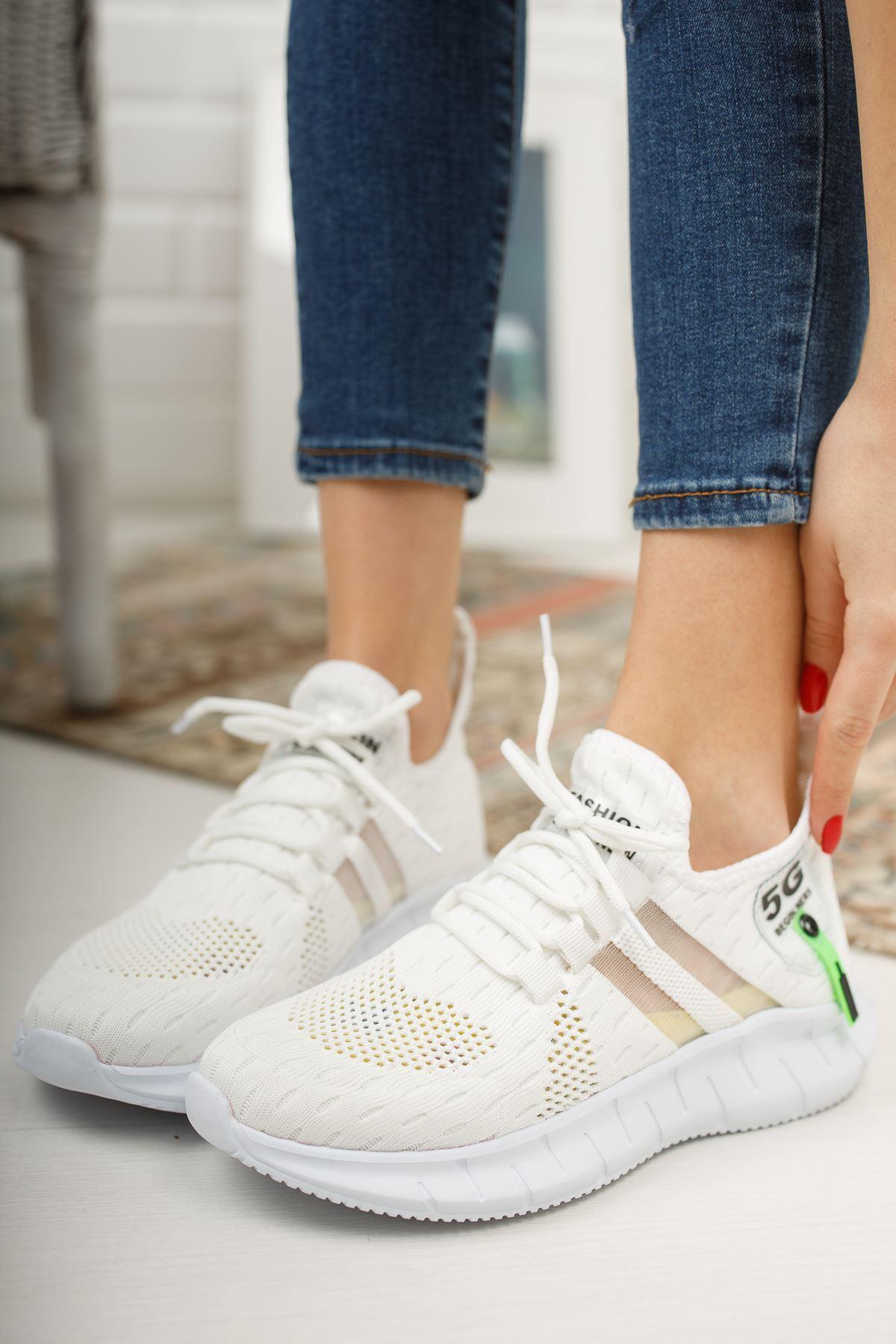 Mirella Beyaz Triko Bağcıklı Kadın Spor Ayakkabı