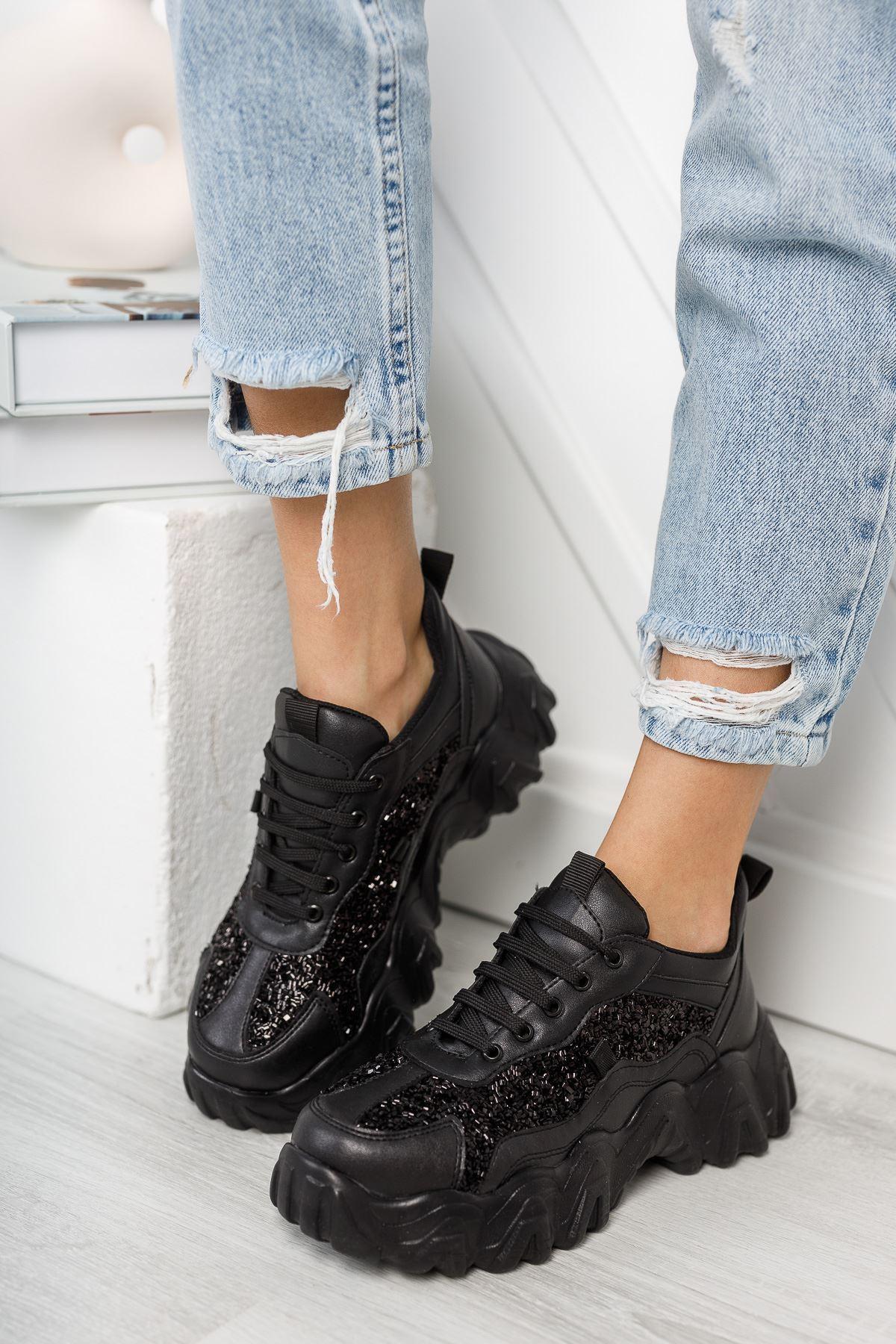 Rapina Siyah Mat Deri Taşlı Bağcıklı Kadın Spor Ayakkabı