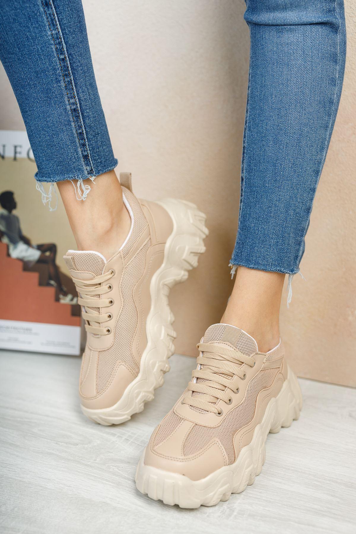 Rapina Vizon Mat Deri Bağcıklı Kadın Spor Ayakkabı