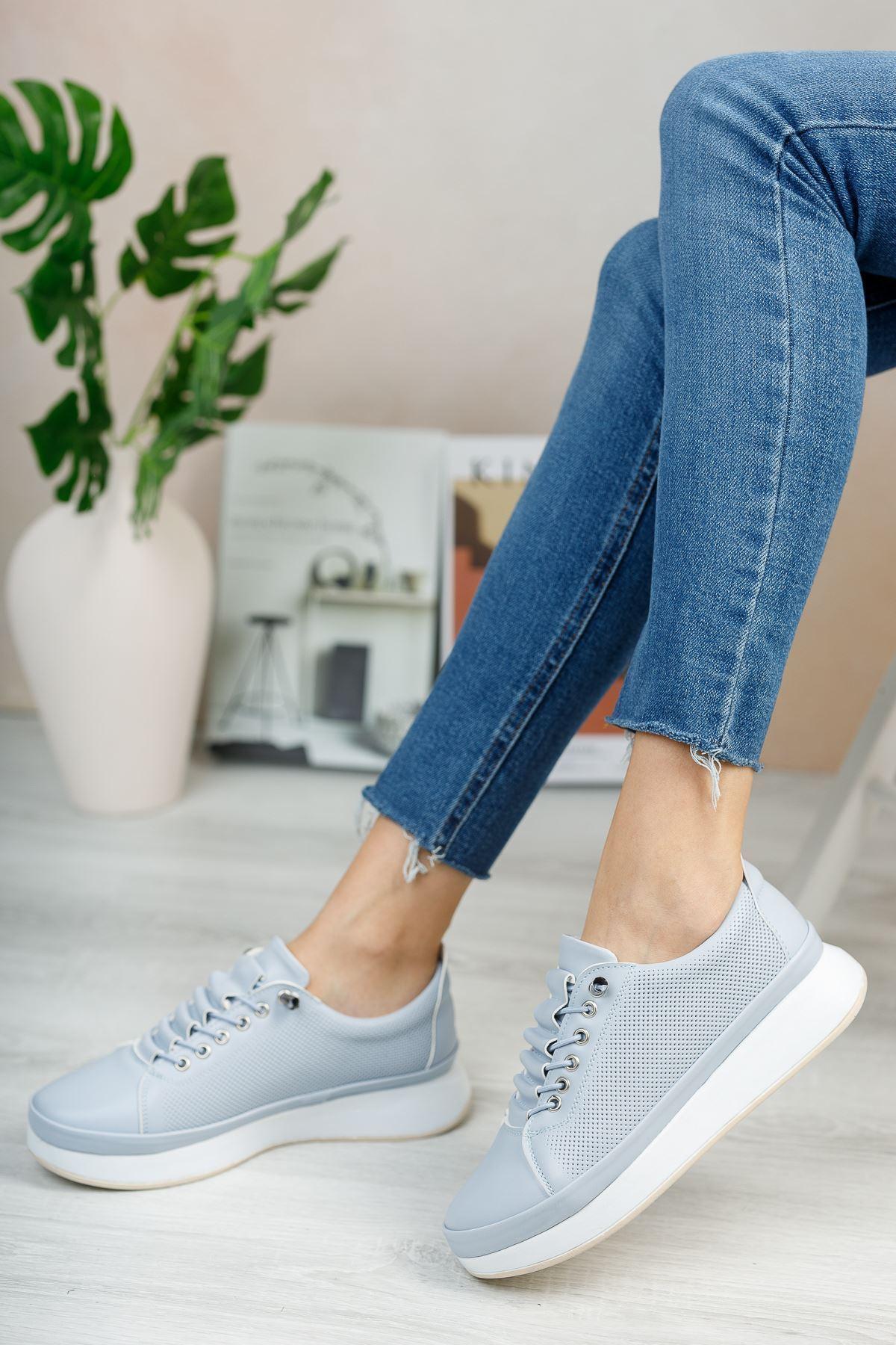 Karenna Bebek Mavi Mat Deri Bağcıklı Kadın Günlük Ayakkabı